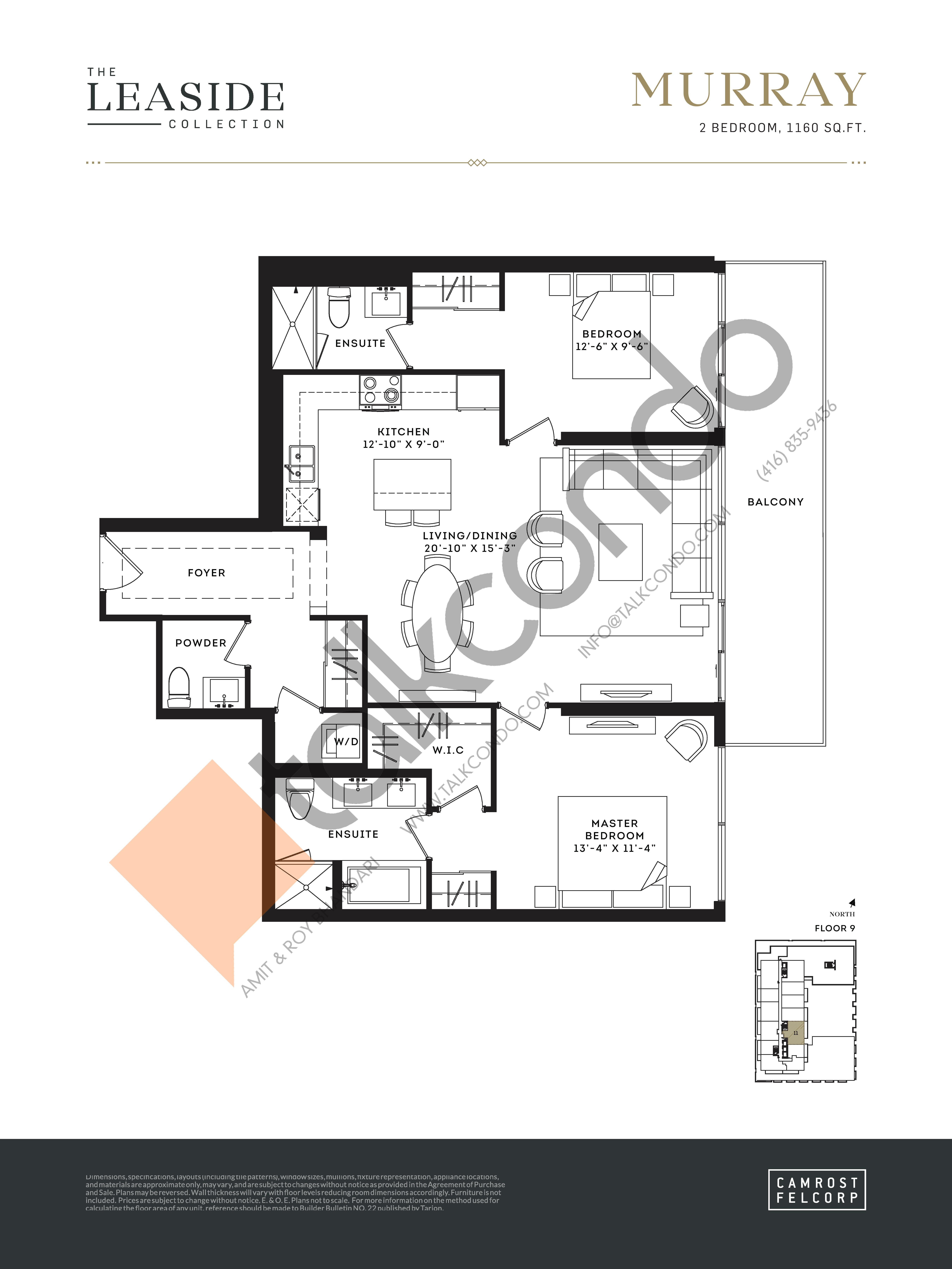Murray (The Leaside Collection) Floor Plan at Upper East Village Condos - 1160 sq.ft