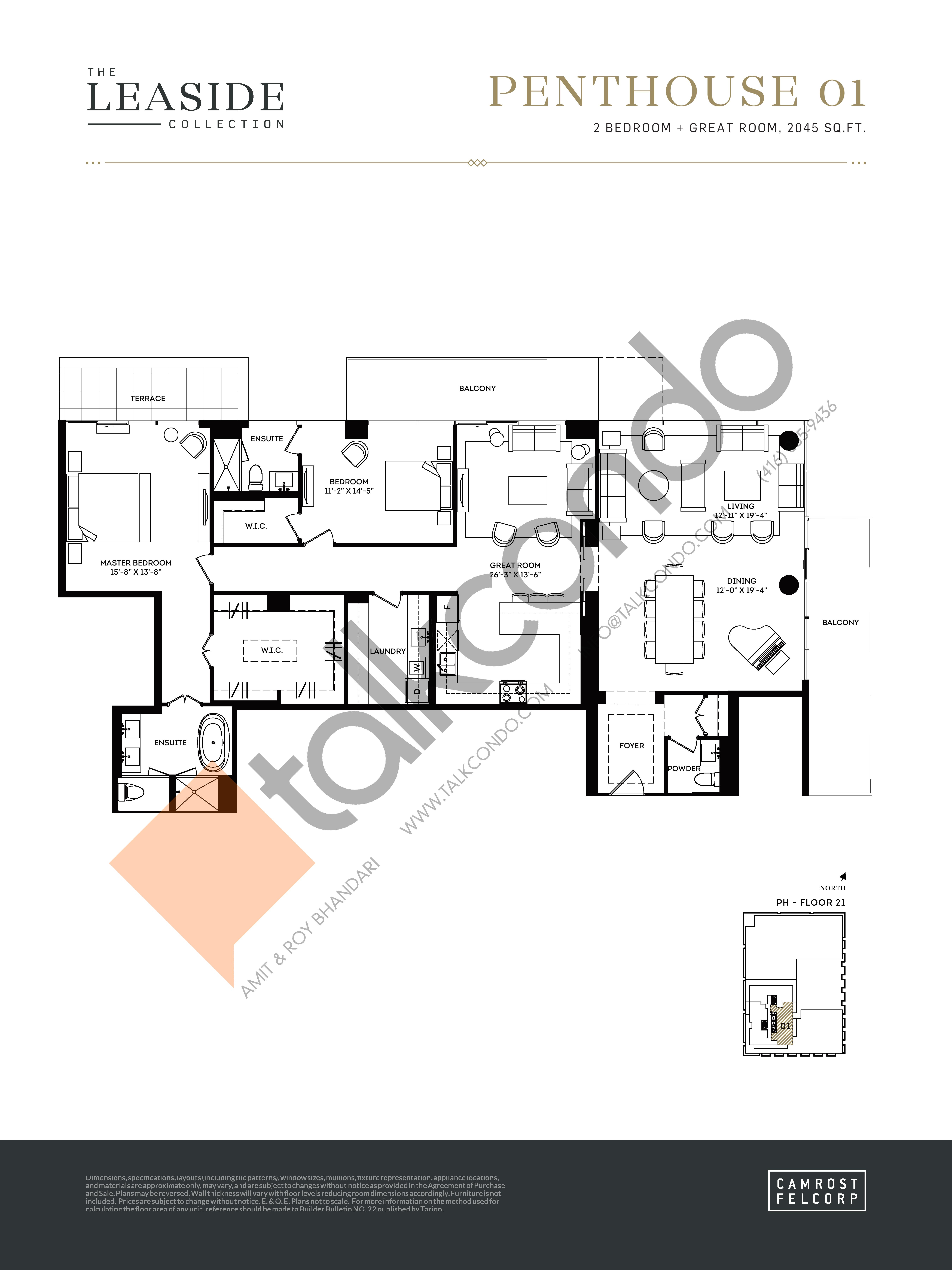 Penthouse 01 (The Leaside Collection) Floor Plan at Upper East Village Condos - 2045 sq.ft