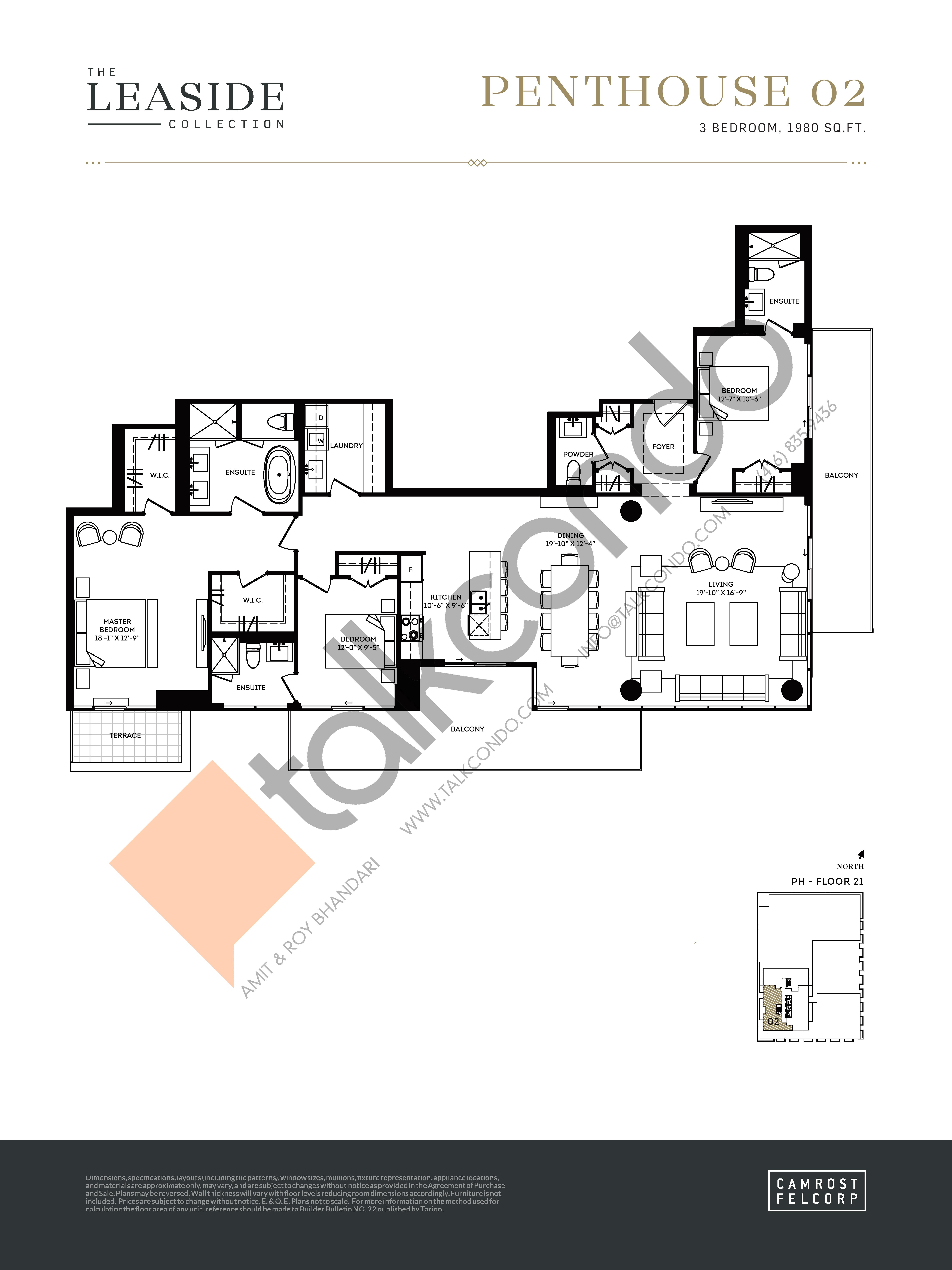 Penthouse 02 (The Leaside Collection) Floor Plan at Upper East Village Condos - 1980 sq.ft
