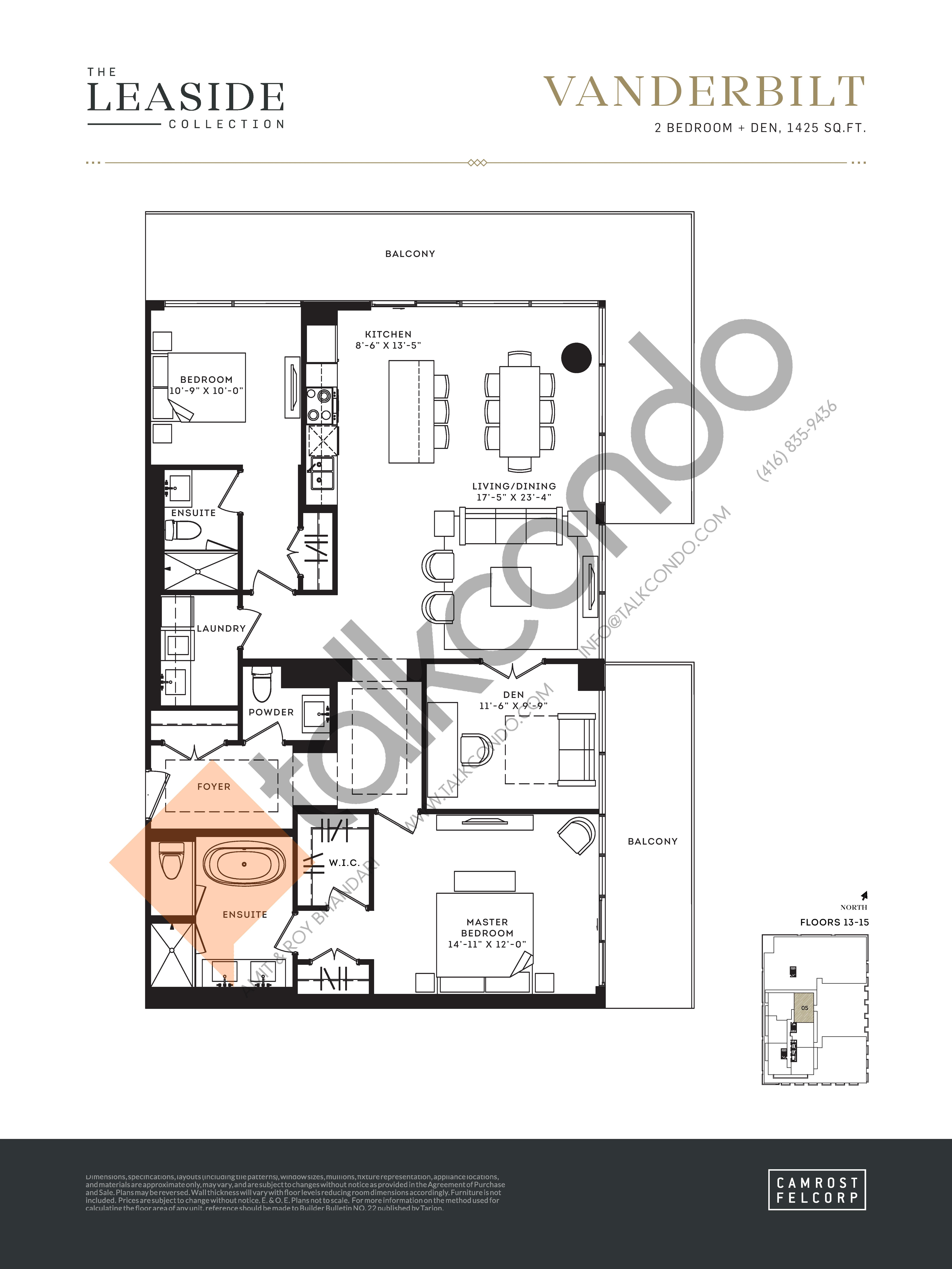 Vanderbilt (The Leaside Collection) Floor Plan at Upper East Village Condos - 1425 sq.ft