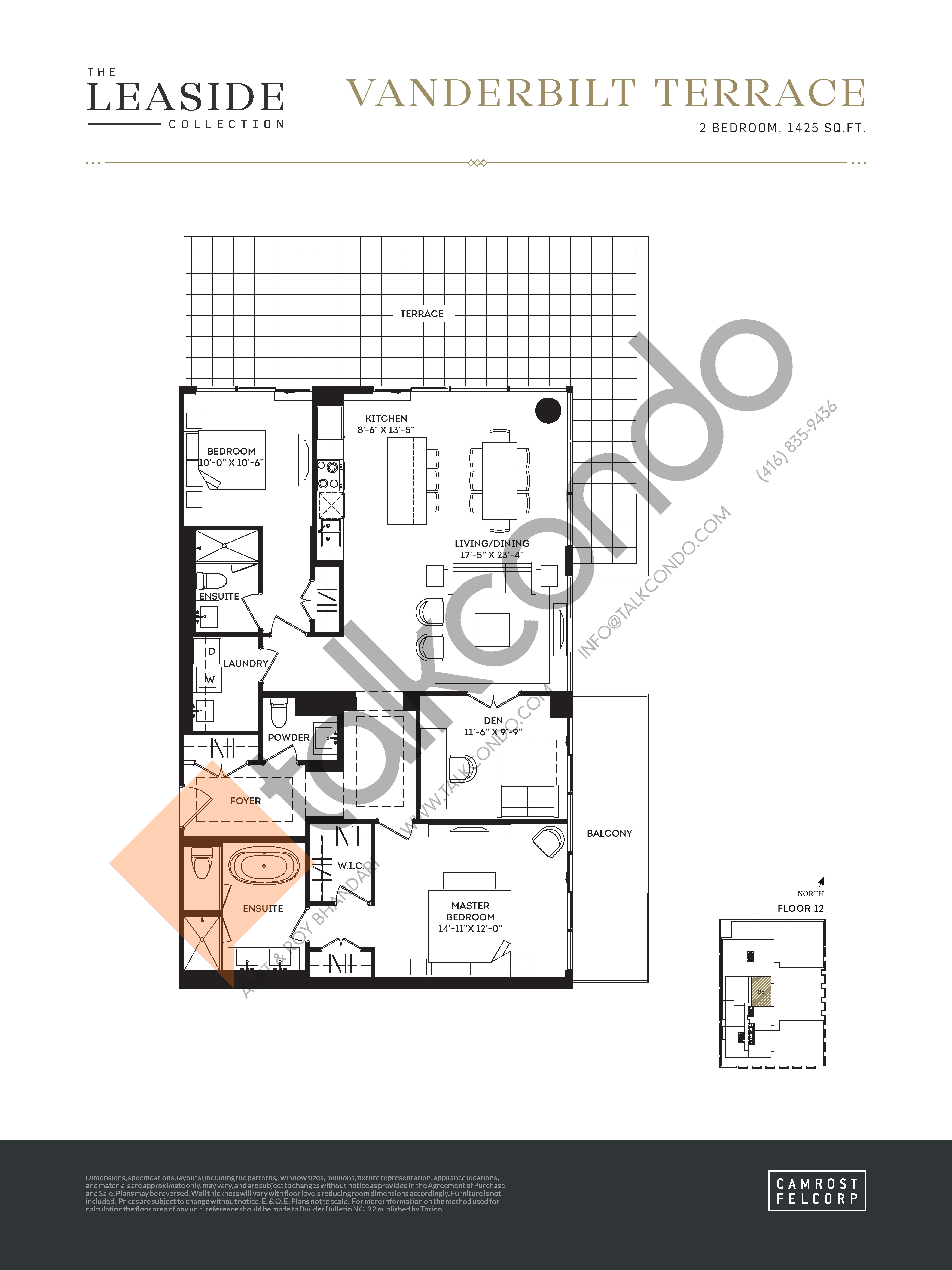 Vanderbilt Terrace (The Leaside Collection) Floor Plan at Upper East Village Condos - 1425 sq.ft