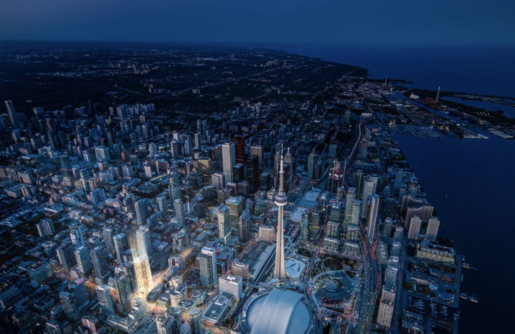 aerial view of 55 mercer condos in toronto