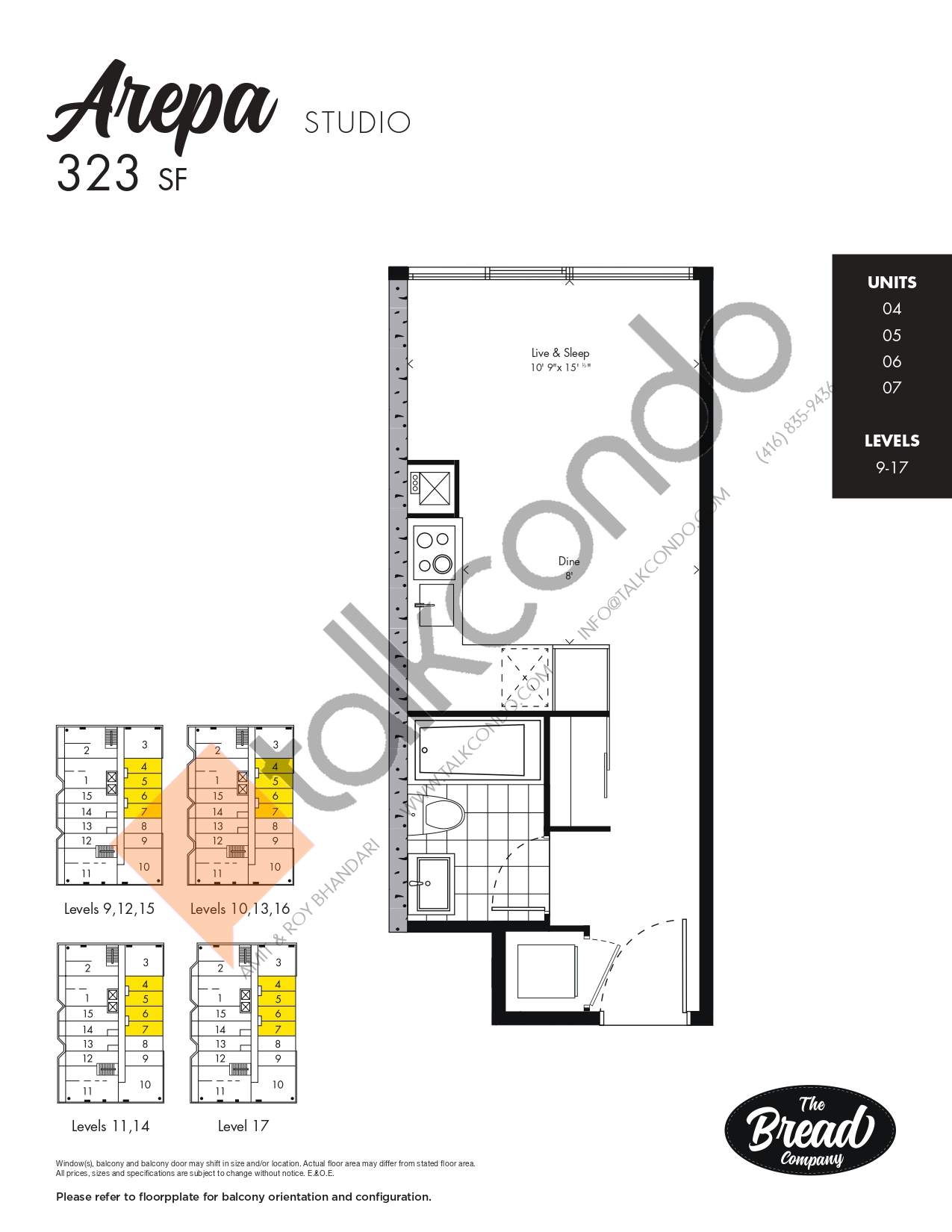 Arepa Floor Plan at The Bread Company Condos - 323 sq.ft