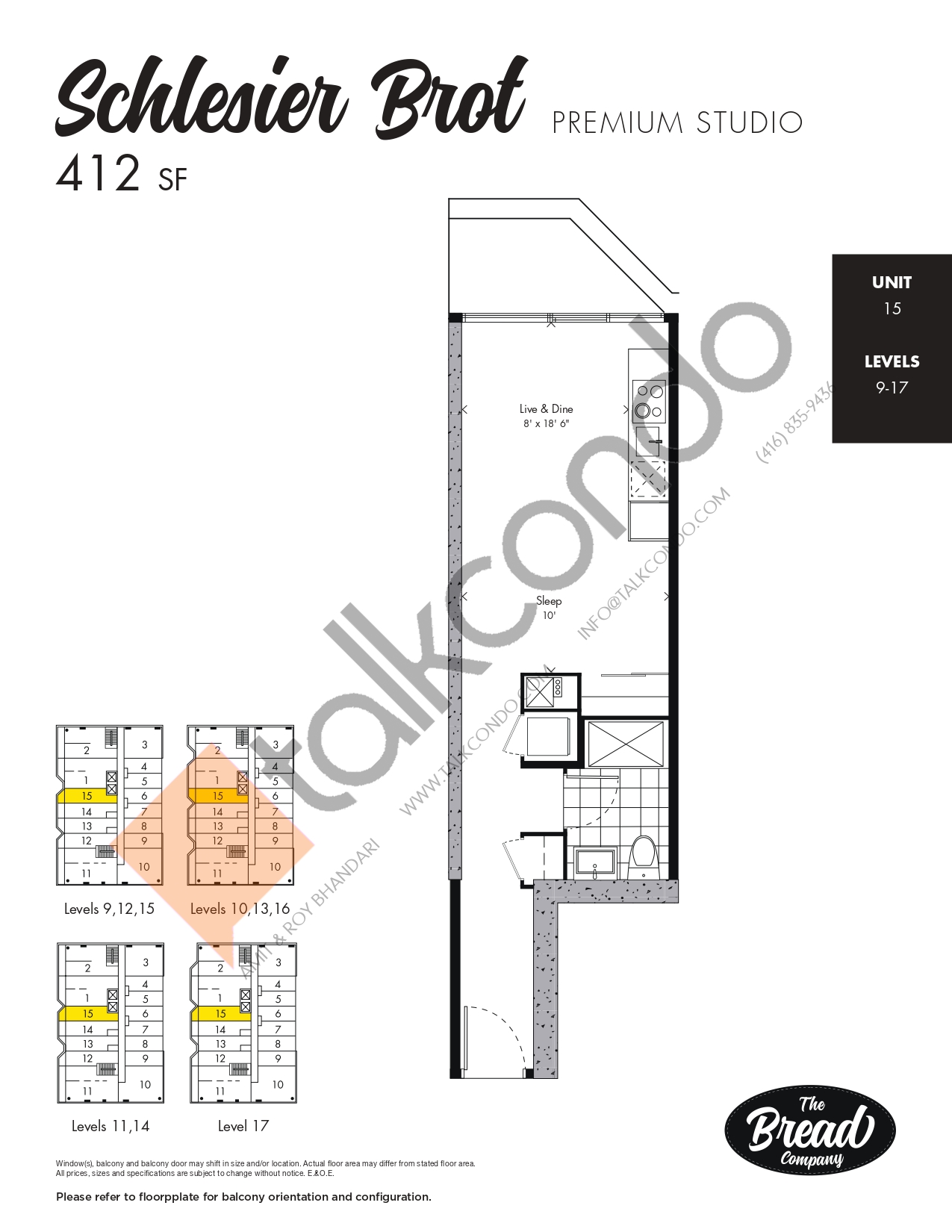 Schlesier Brot Floor Plan at The Bread Company Condos - 412 sq.ft