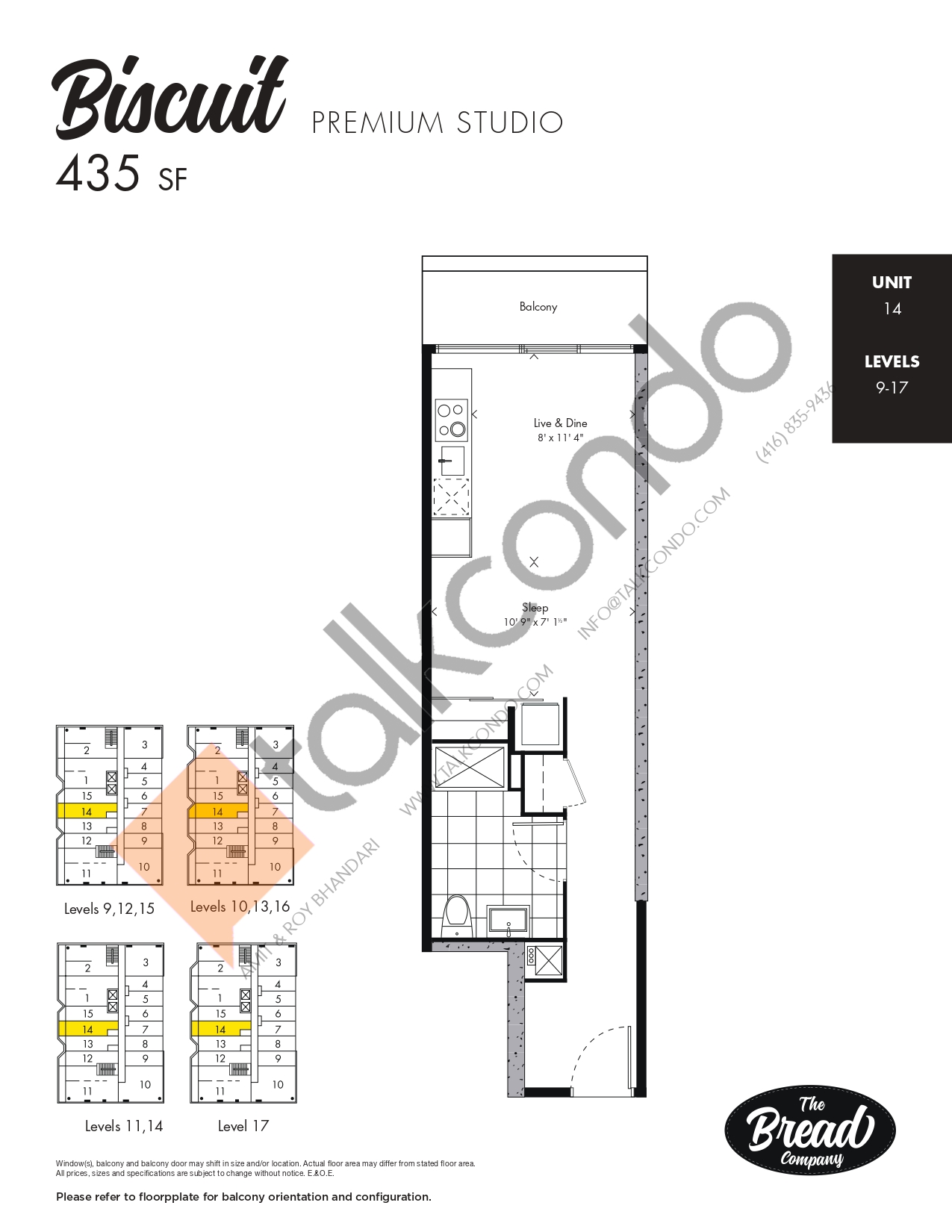 Biscuit Floor Plan at The Bread Company Condos - 435 sq.ft