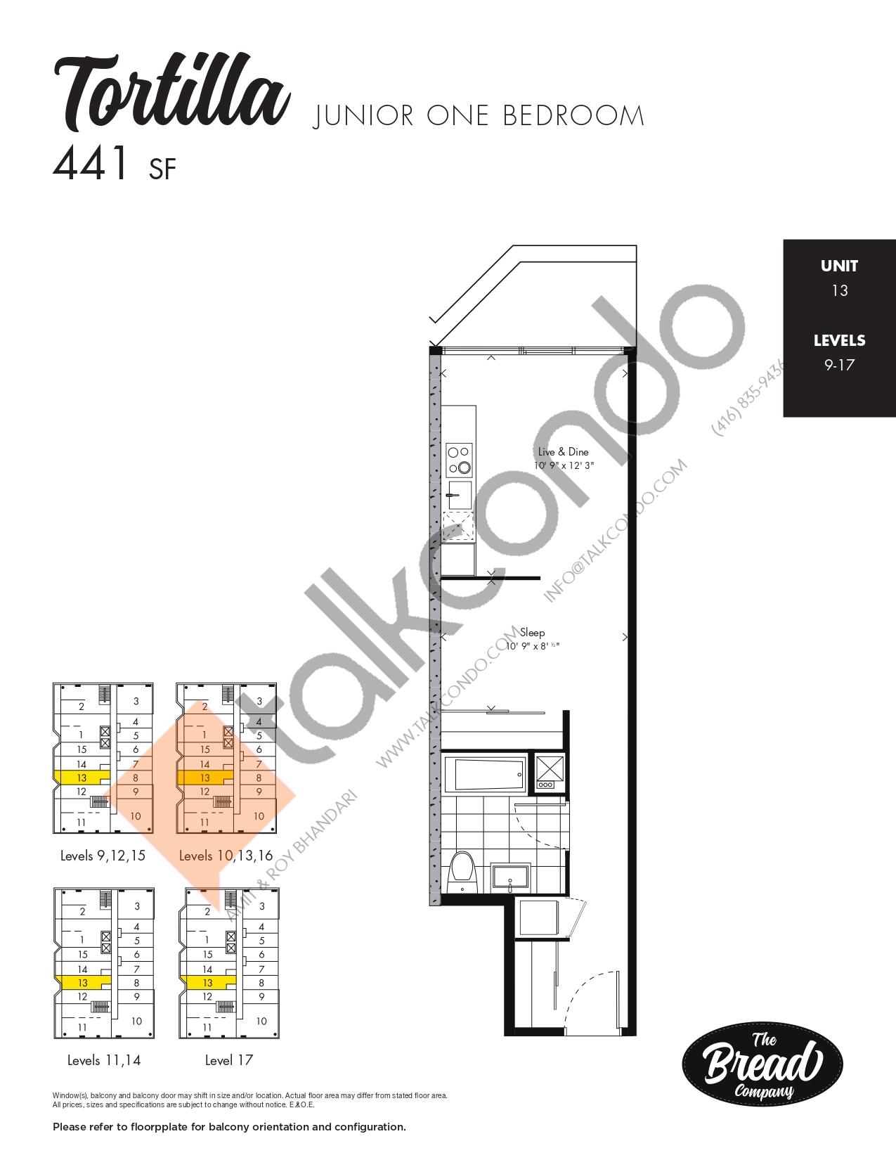 Tortilla Floor Plan at The Bread Company Condos - 441 sq.ft