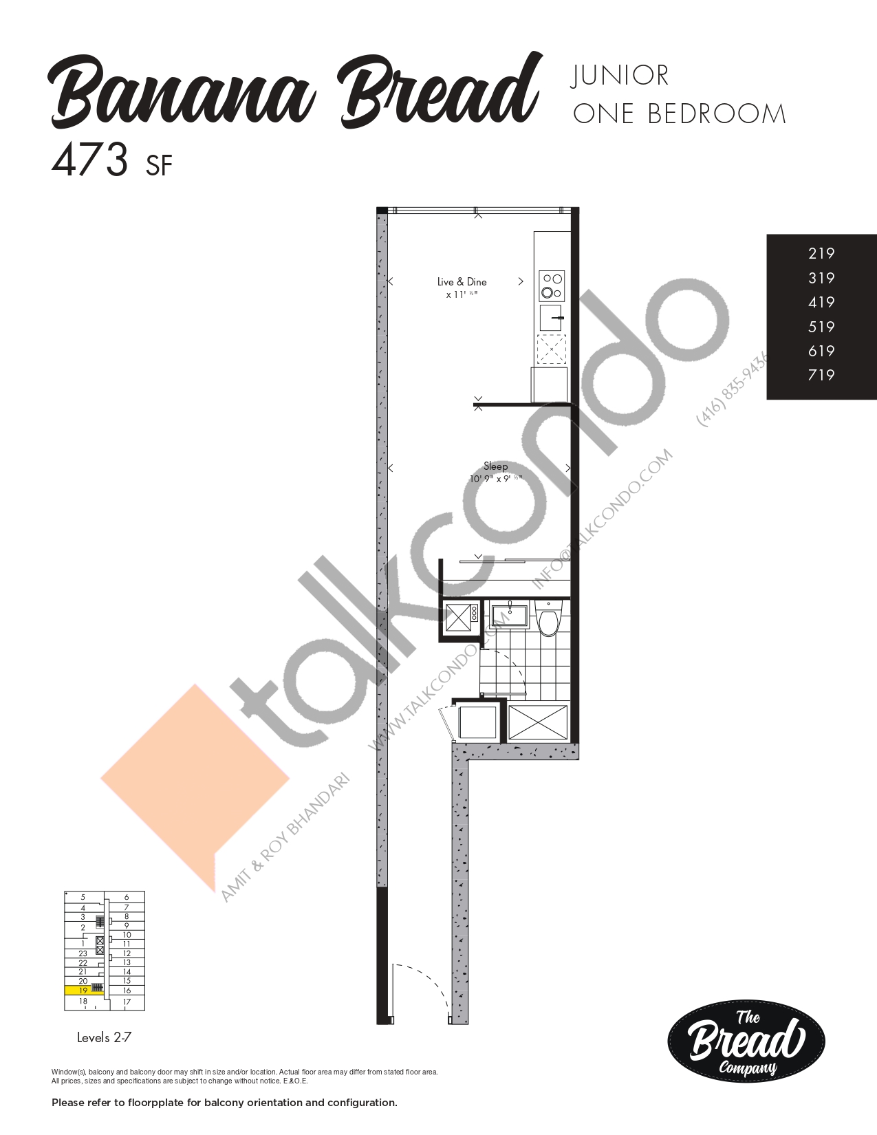 Banana Bread Floor Plan at The Bread Company Condos - 473 sq.ft