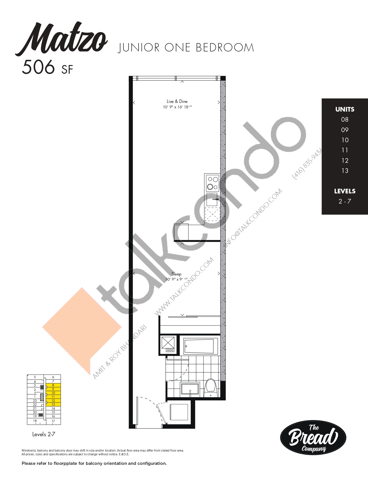 Matzo Floor Plan at The Bread Company Condos - 506 sq.ft