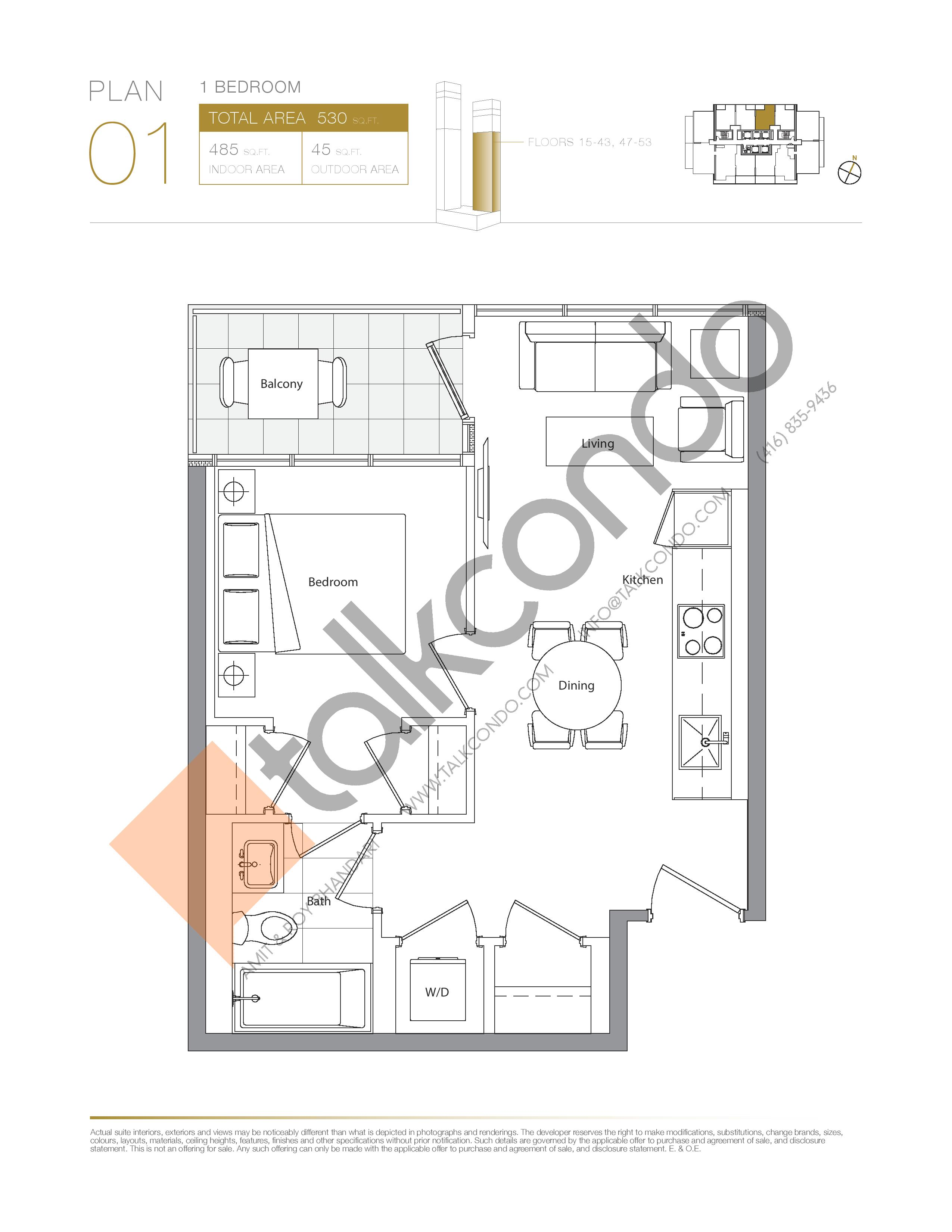 Plan 01 - East Tower Lower Floor Plan at Concord Canada House Condos - 485 sq.ft