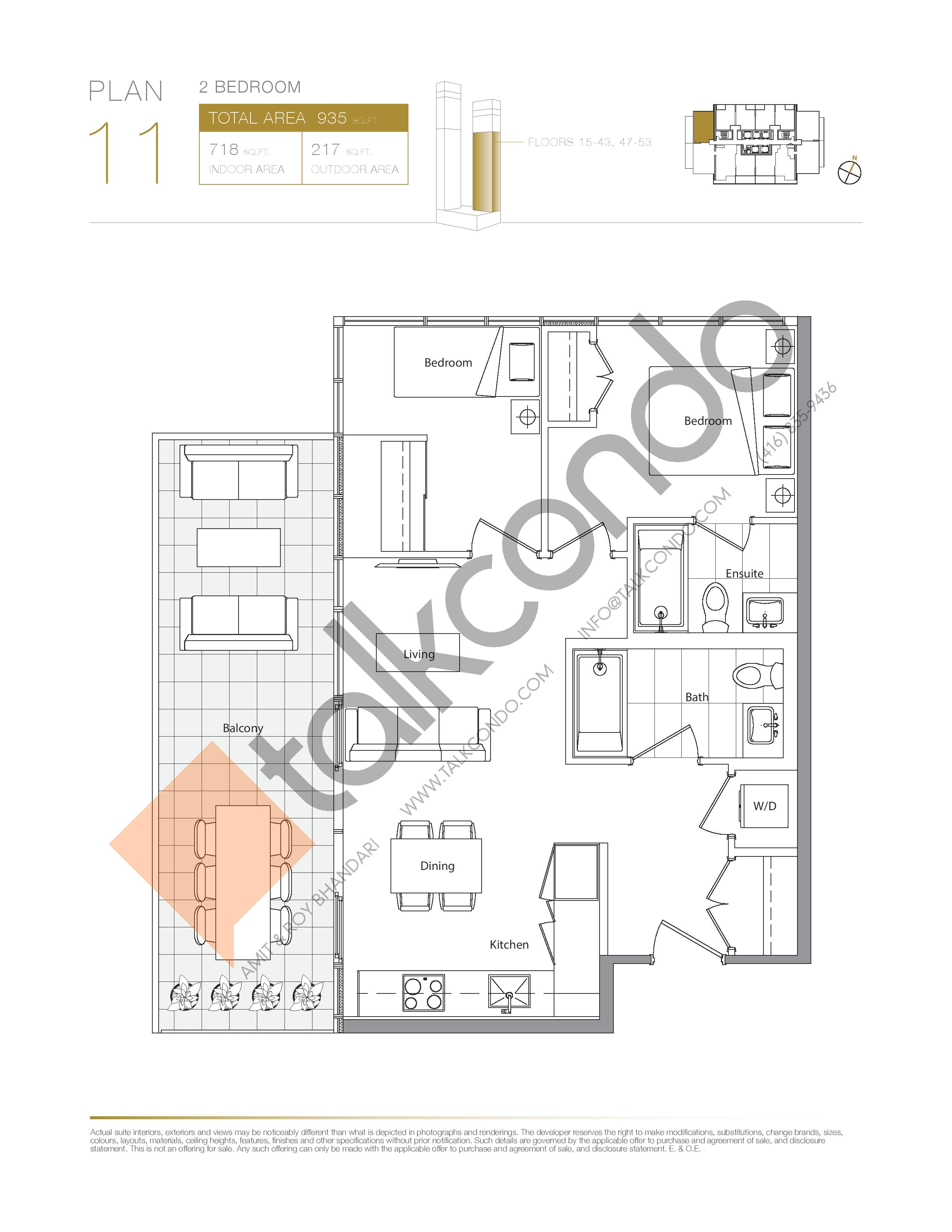 Plan 11 - East Tower Lower Floor Plan at Concord Canada House Condos - 718 sq.ft