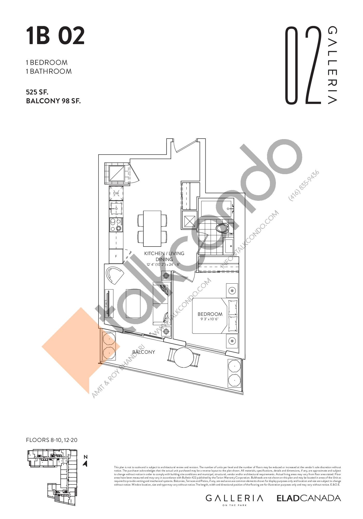 1B 02 Floor Plan at Galleria 02 Condos - 525 sq.ft