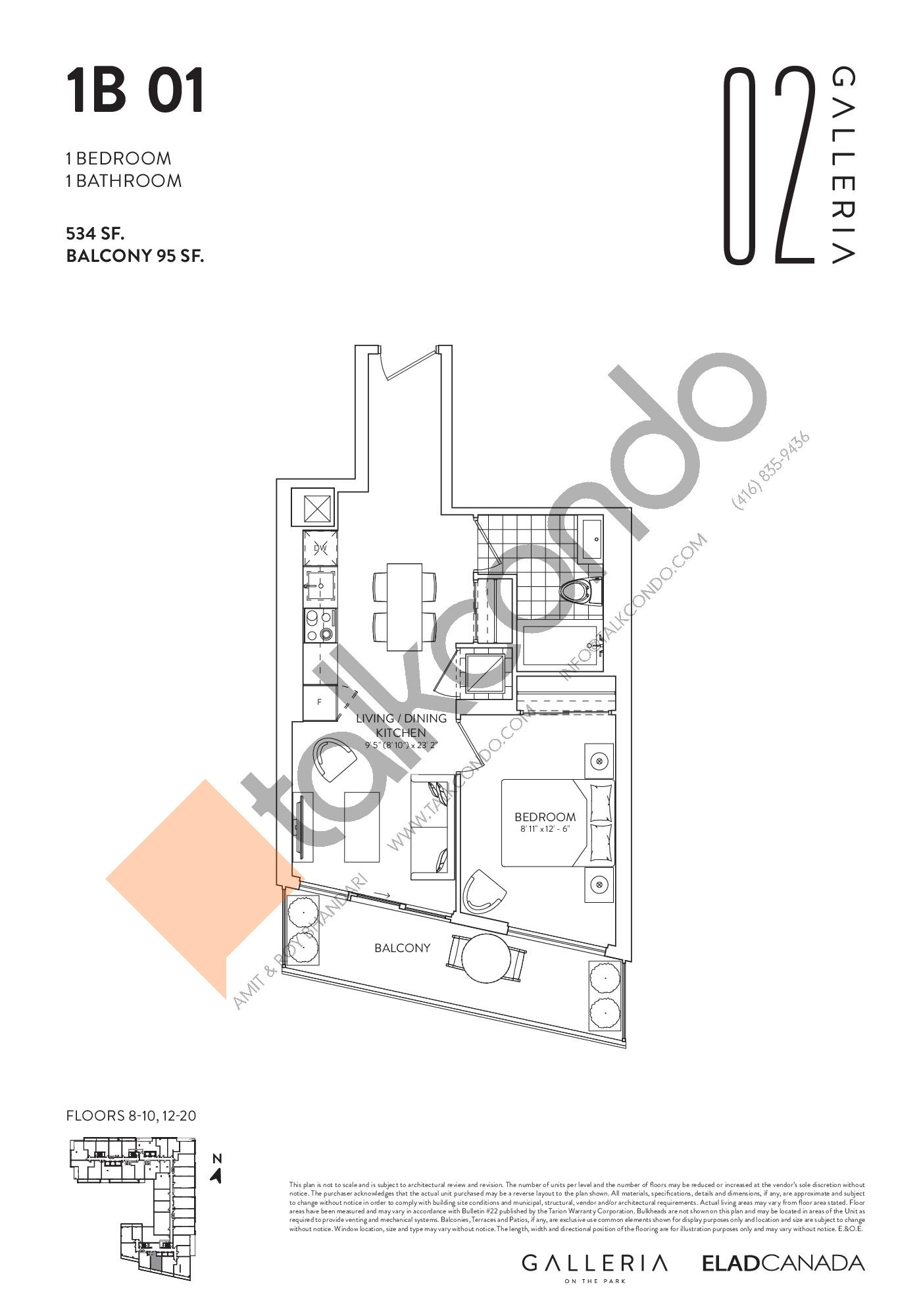 1B 01 Floor Plan at Galleria 02 Condos - 534 sq.ft