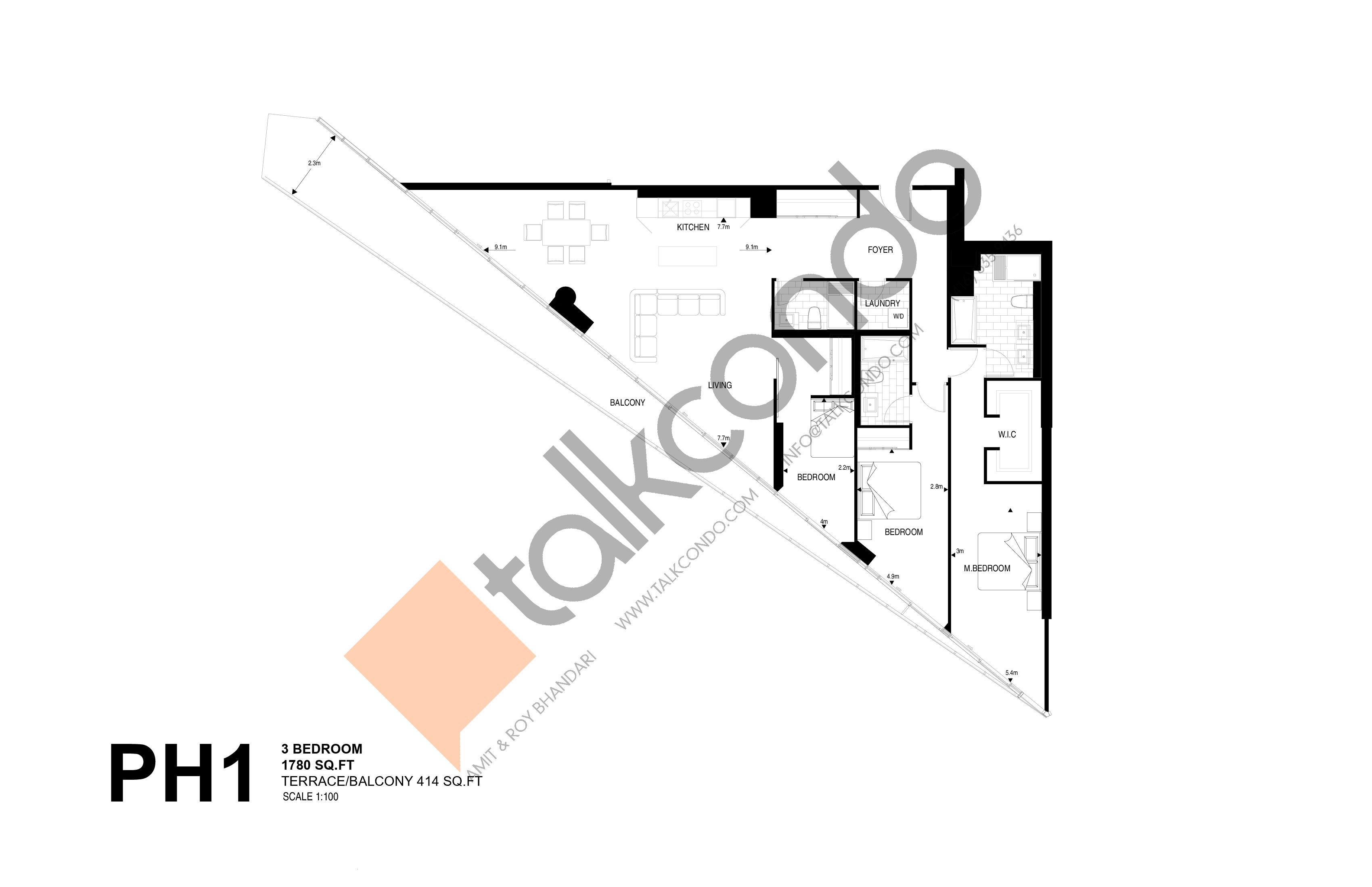 PH1 Floor Plan at Harris Square Condos - 1780 sq.ft