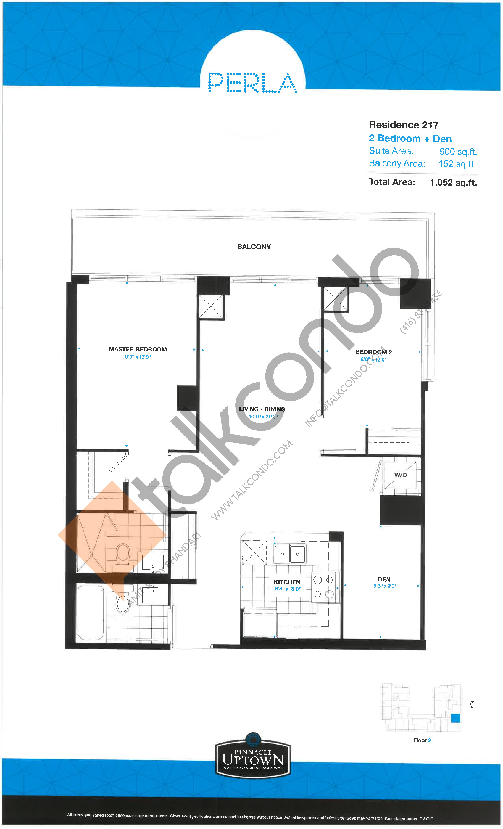 Residence 217 - East Tower Floor Plan at Perla Towers Condos - 900 sq.ft