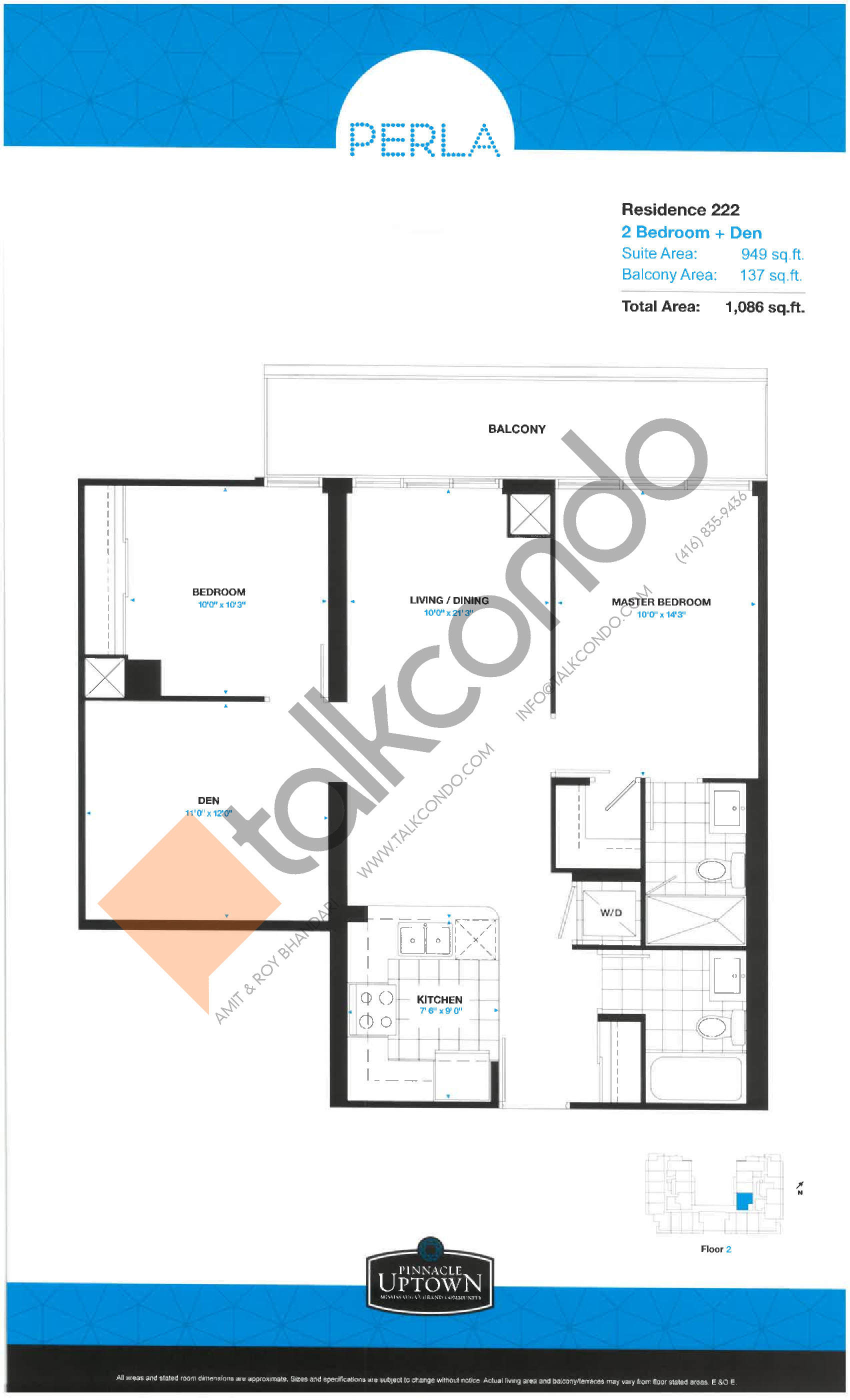 Residence 222 - East Tower Floor Plan at Perla Towers Condos - 949 sq.ft