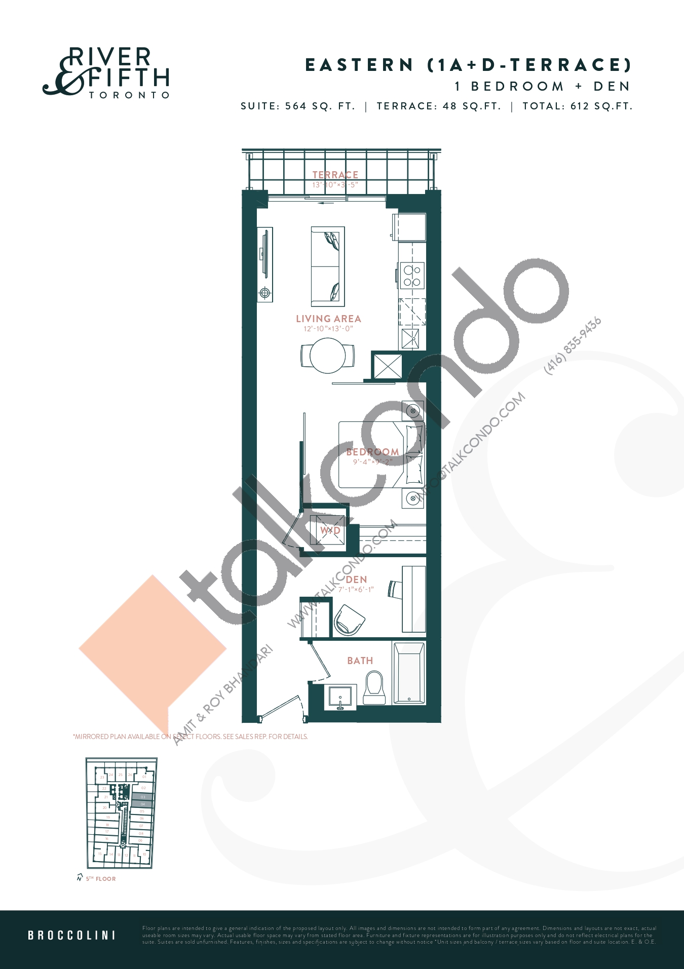 Eastern (1A+D-Terrace) Floor Plan at River & Fifth Condos - 564 sq.ft