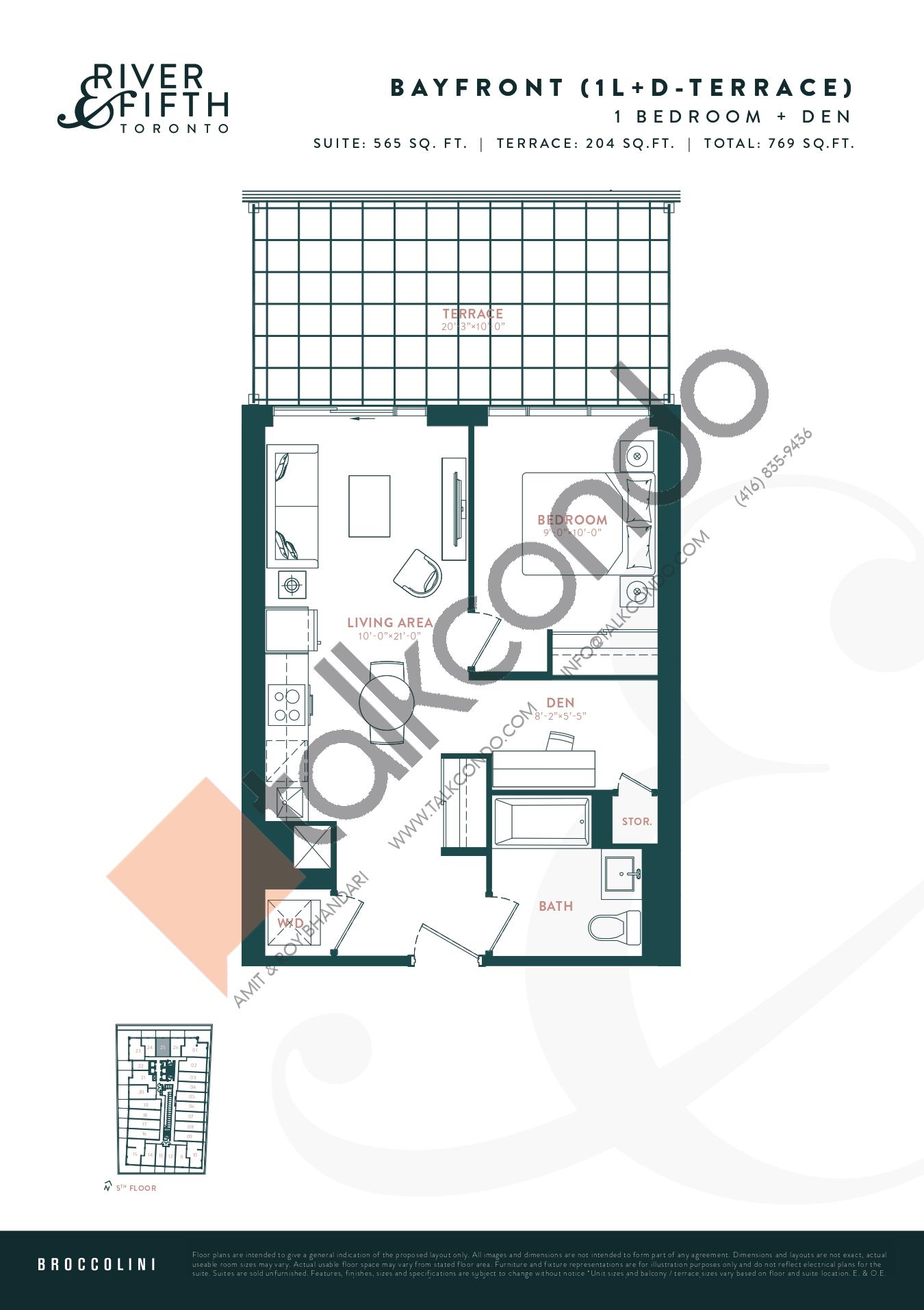 Bayfront (1L+D-Terrace) Floor Plan at River & Fifth Condos - 565 sq.ft