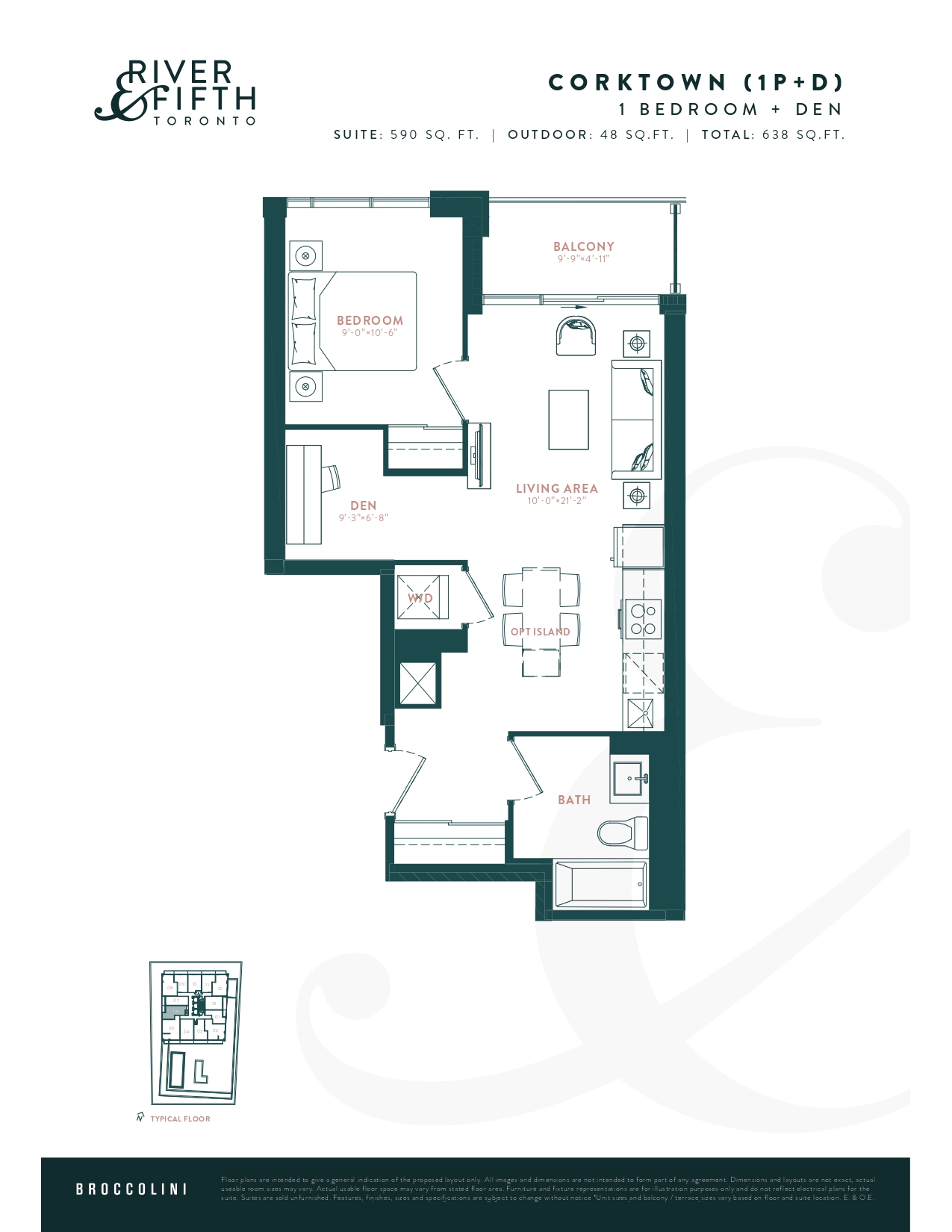 Corktown (1P+D) Floor Plan at River & Fifth Condos - 590 sq.ft