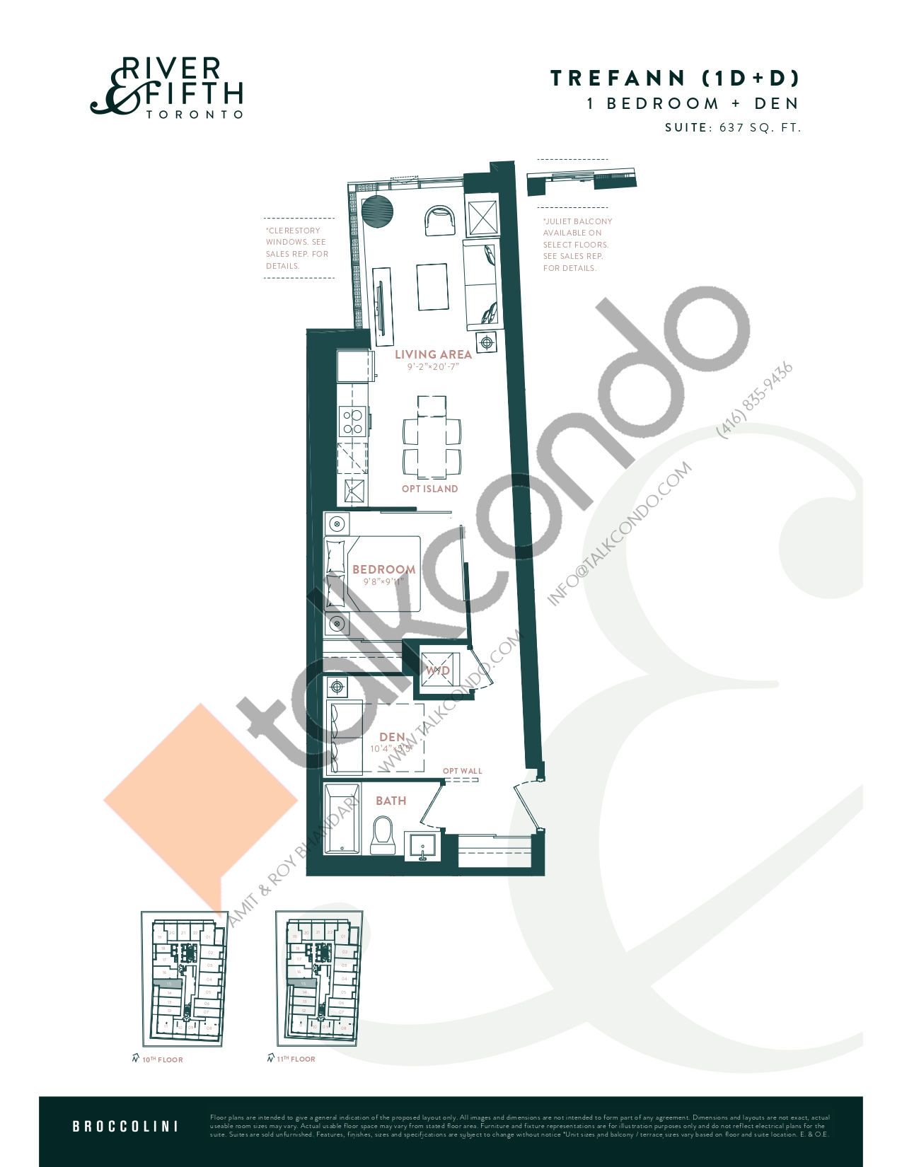 Trefann (1D+D) Floor Plan at River & Fifth Condos - 637 sq.ft