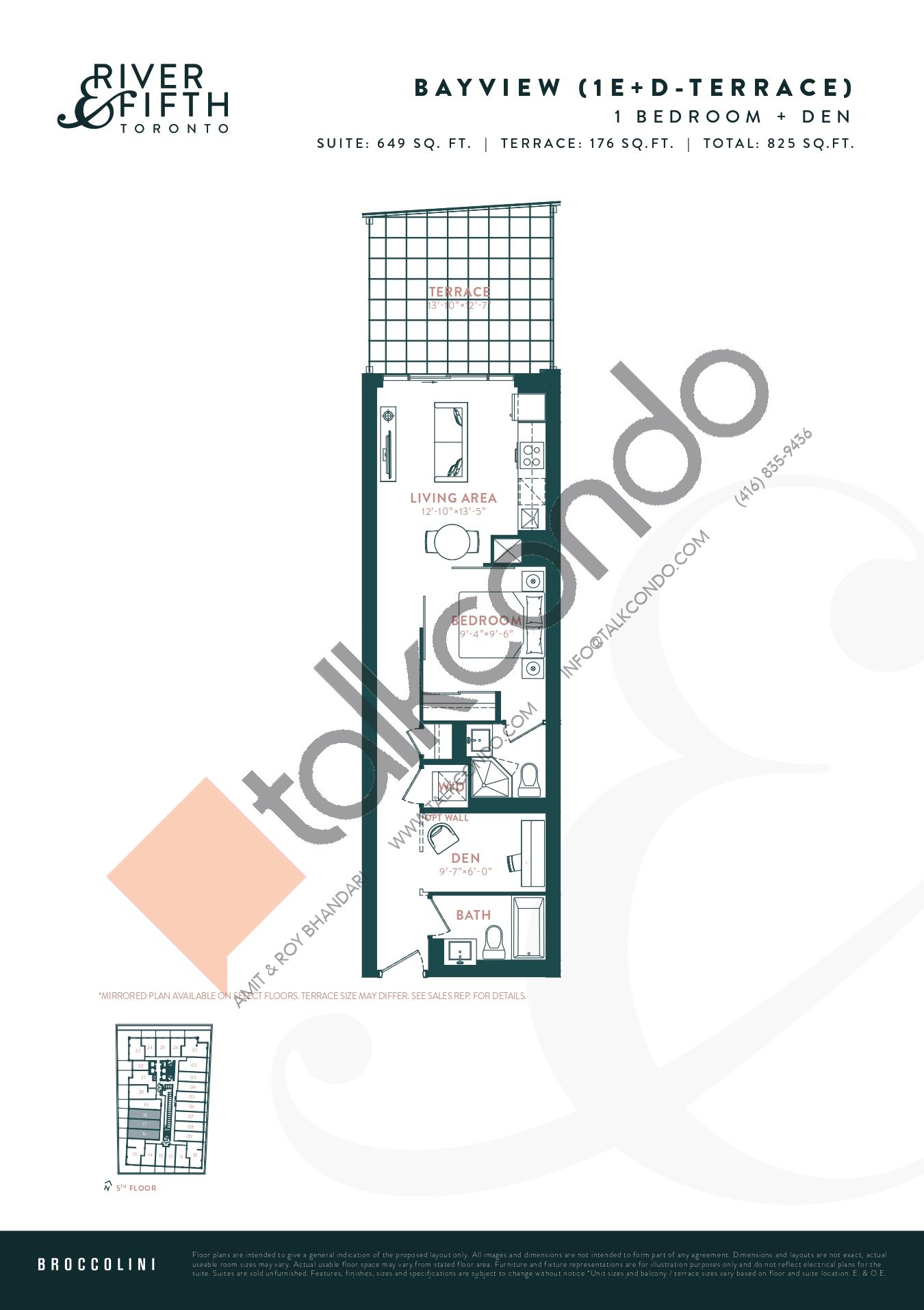 Bayview (1E+D-Terrace) Floor Plan at River & Fifth Condos - 649 sq.ft