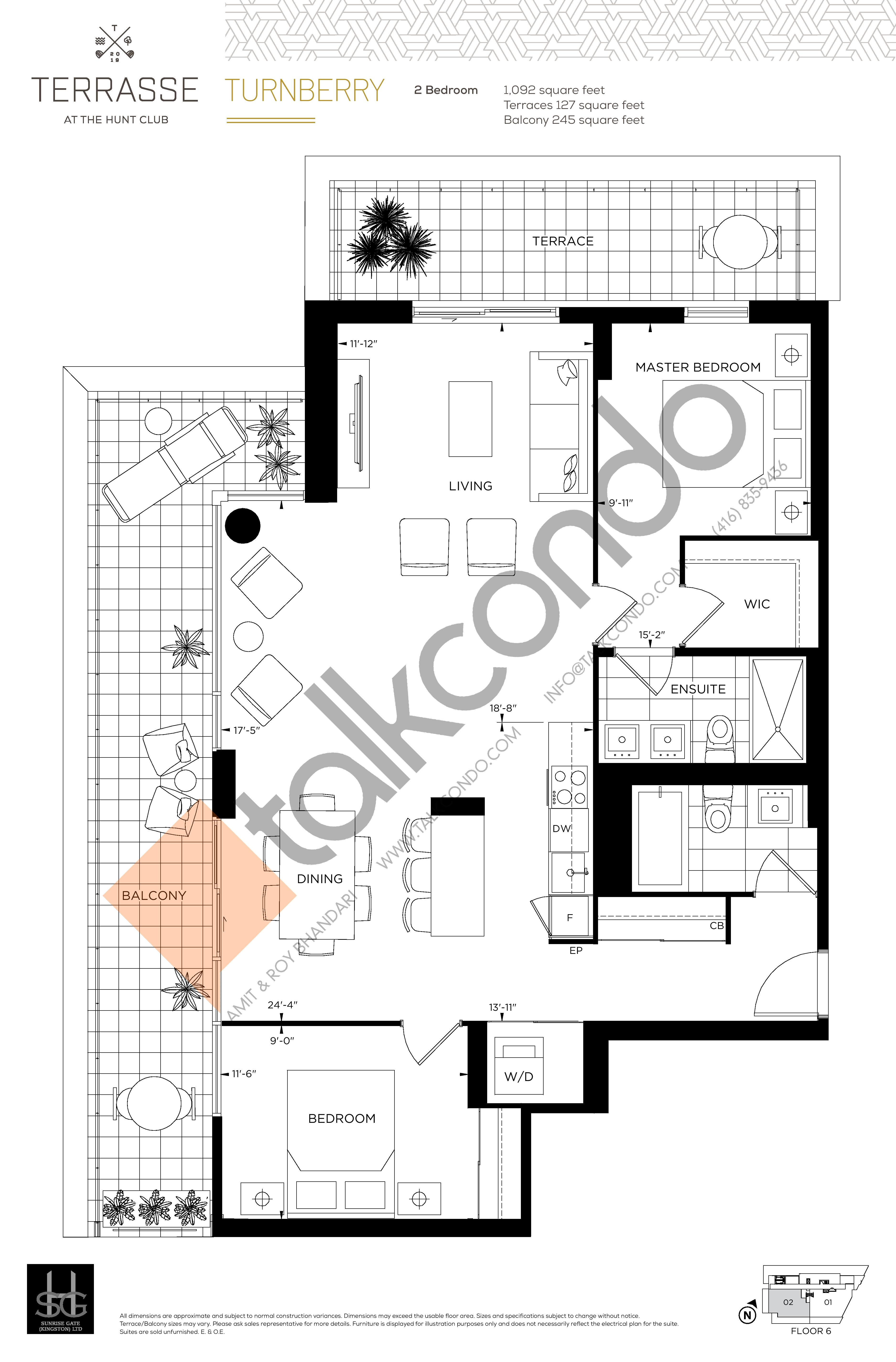 Turnberry (2BR) Floor Plan at Terrasse Condos at The Hunt Club - 1092 sq.ft