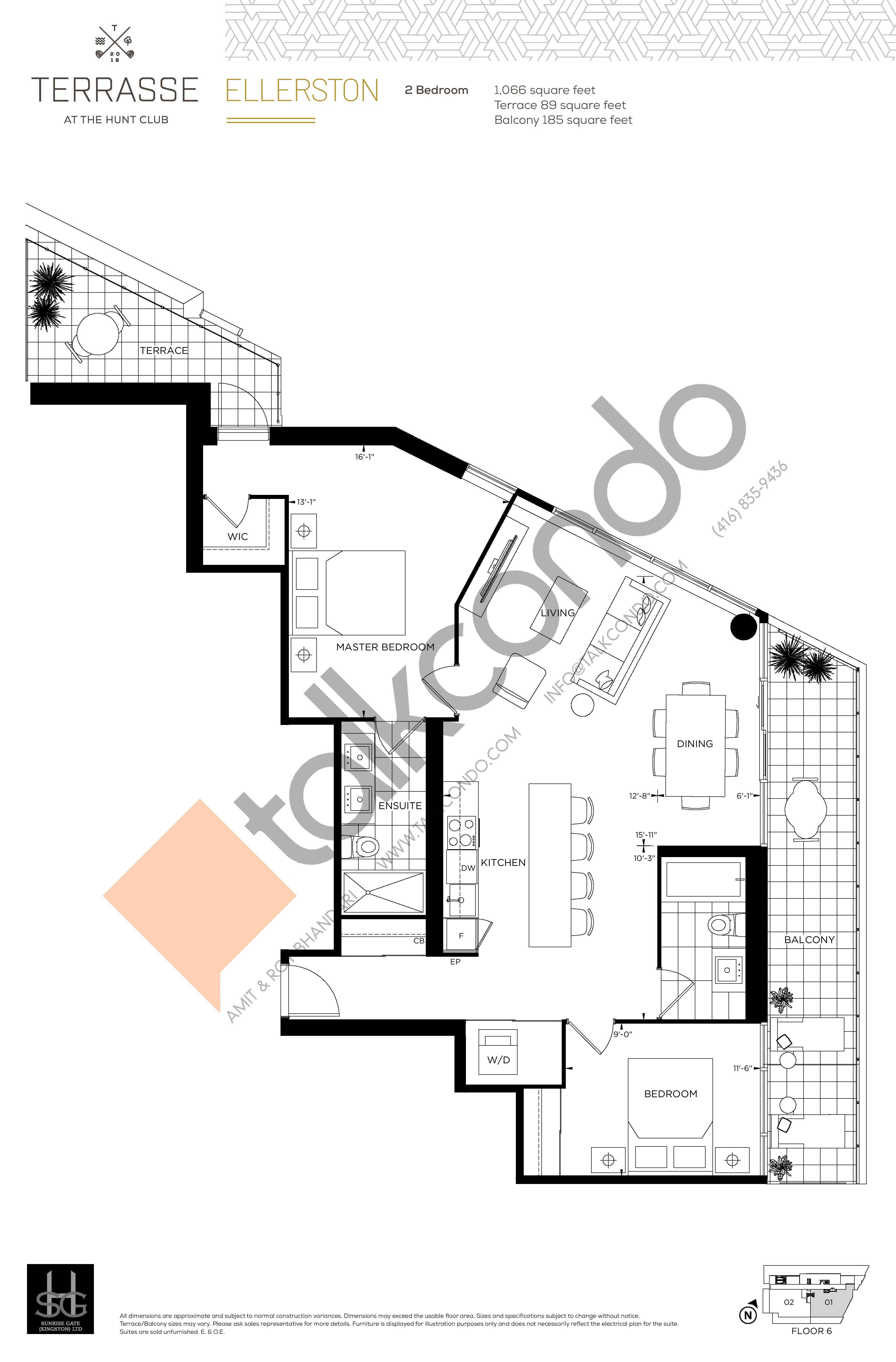 Ellerston Floor Plan at Terrasse Condos at The Hunt Club - 1066 sq.ft