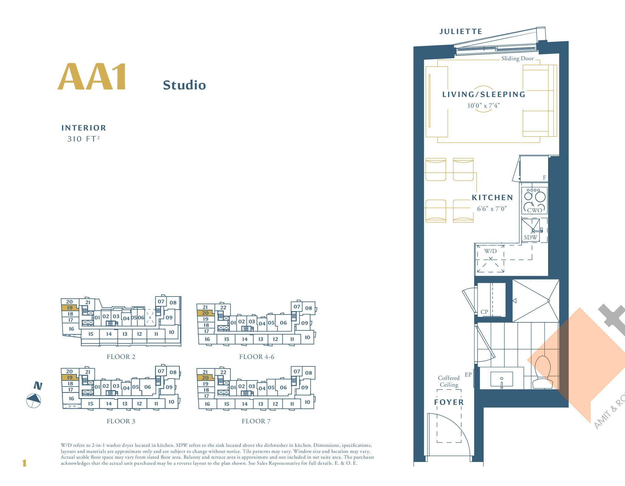 AA1 Floor Plan at The Borough Condos - Tower A - 310 sq.ft