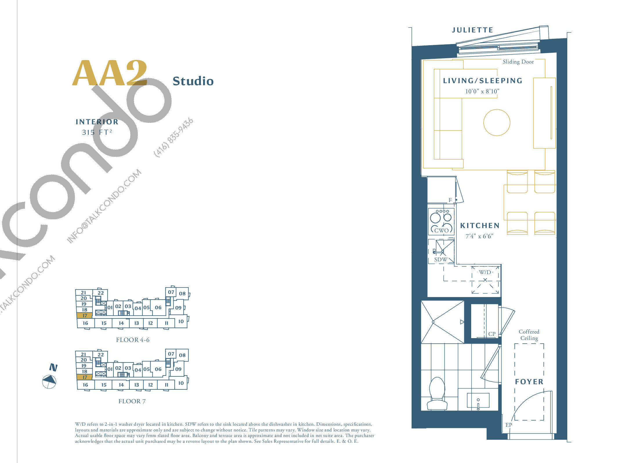 AA2 Floor Plan at The Borough Condos - Tower A - 315 sq.ft