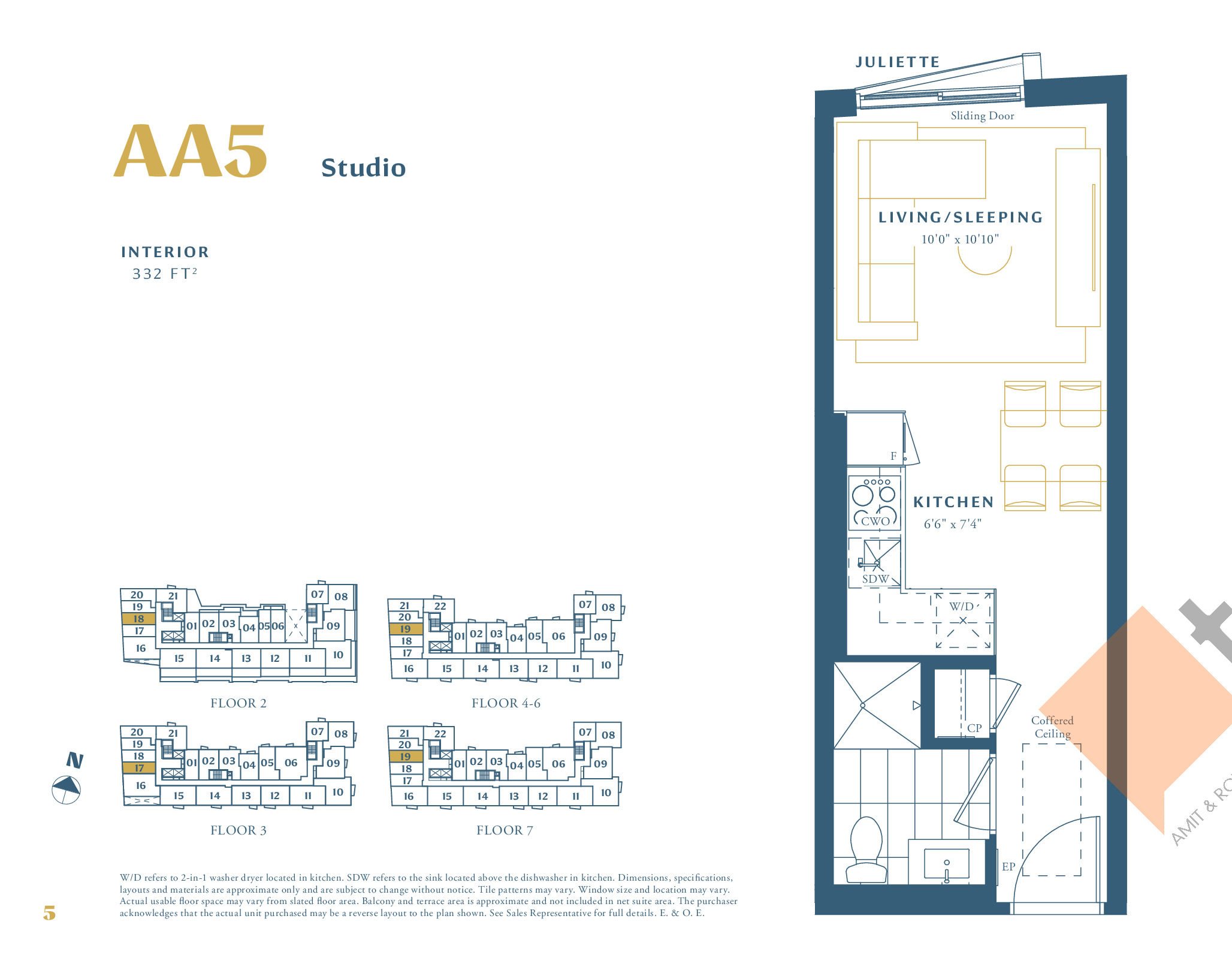 AA5 Floor Plan at The Borough Condos - Tower A - 332 sq.ft