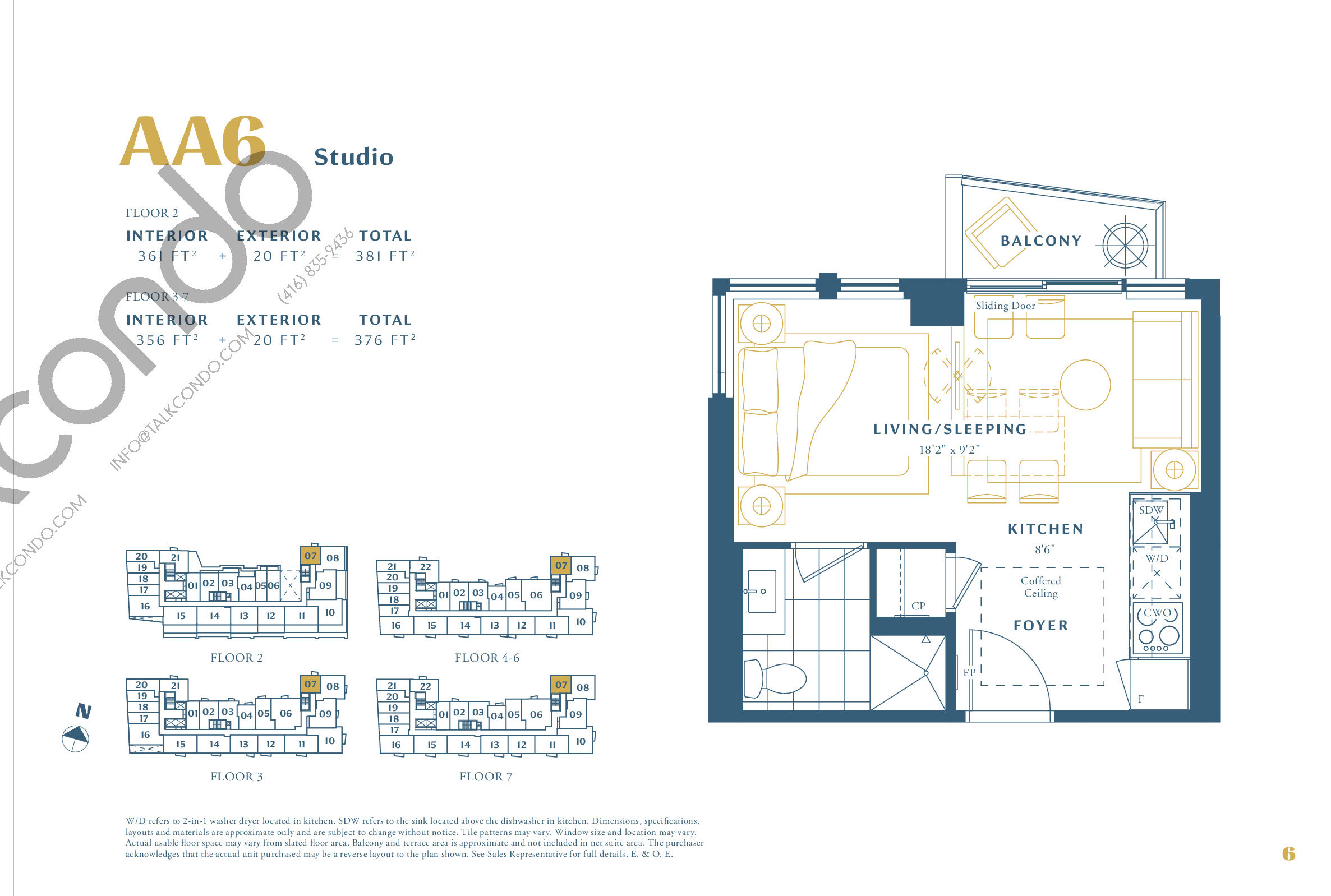 AA6 Floor Plan at The Borough Condos - Tower A - 361 sq.ft