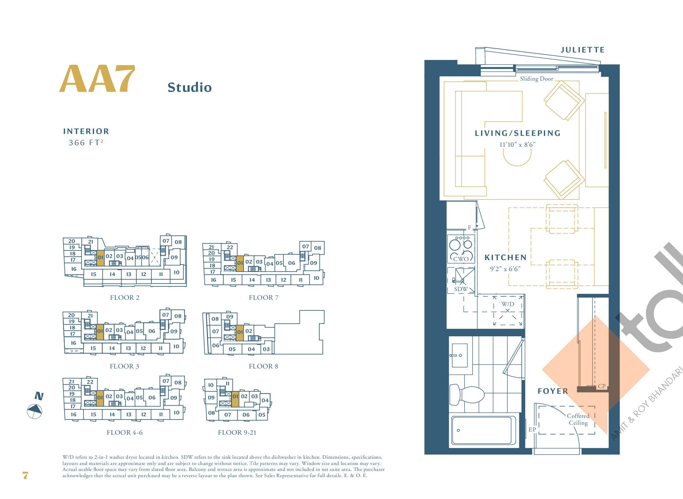 AA7 Floor Plan at The Borough Condos - Tower A - 366 sq.ft