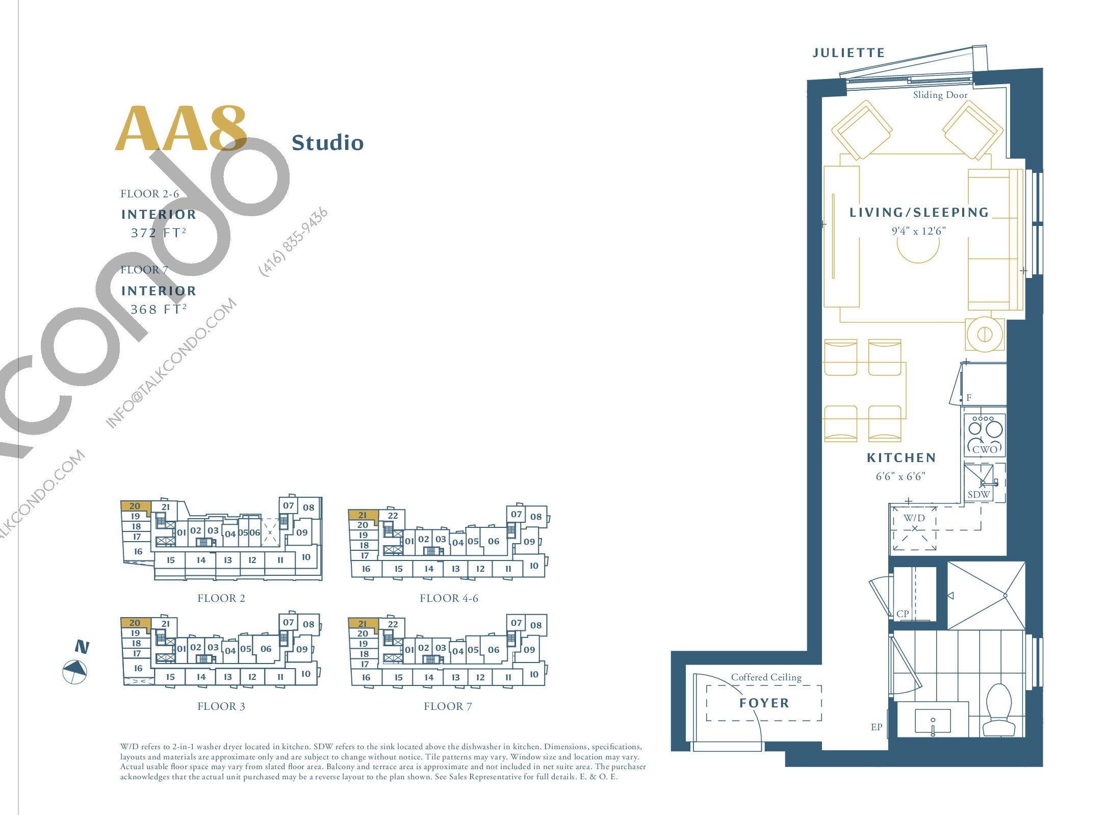 AA8 Floor Plan at The Borough Condos - Tower A - 372 sq.ft