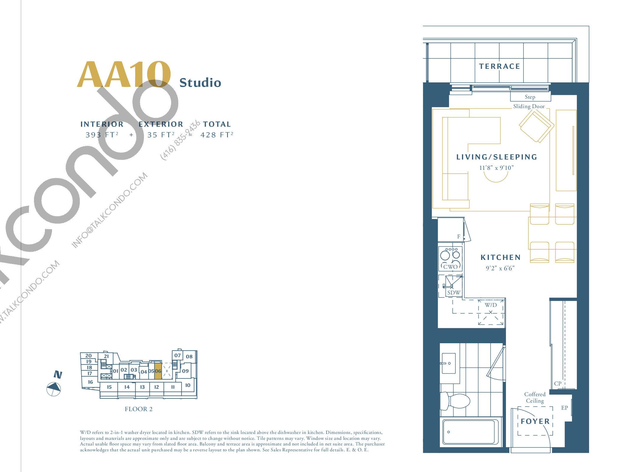 AA10 Floor Plan at The Borough Condos - Tower A - 393 sq.ft