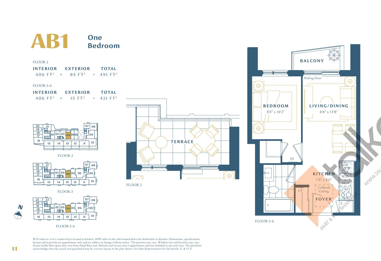 AB1 Floor Plan at The Borough Condos - Tower A - 406 sq.ft