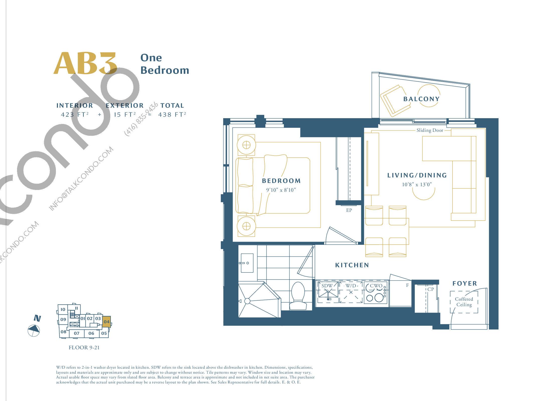 AB3 Floor Plan at The Borough Condos - Tower A - 423 sq.ft