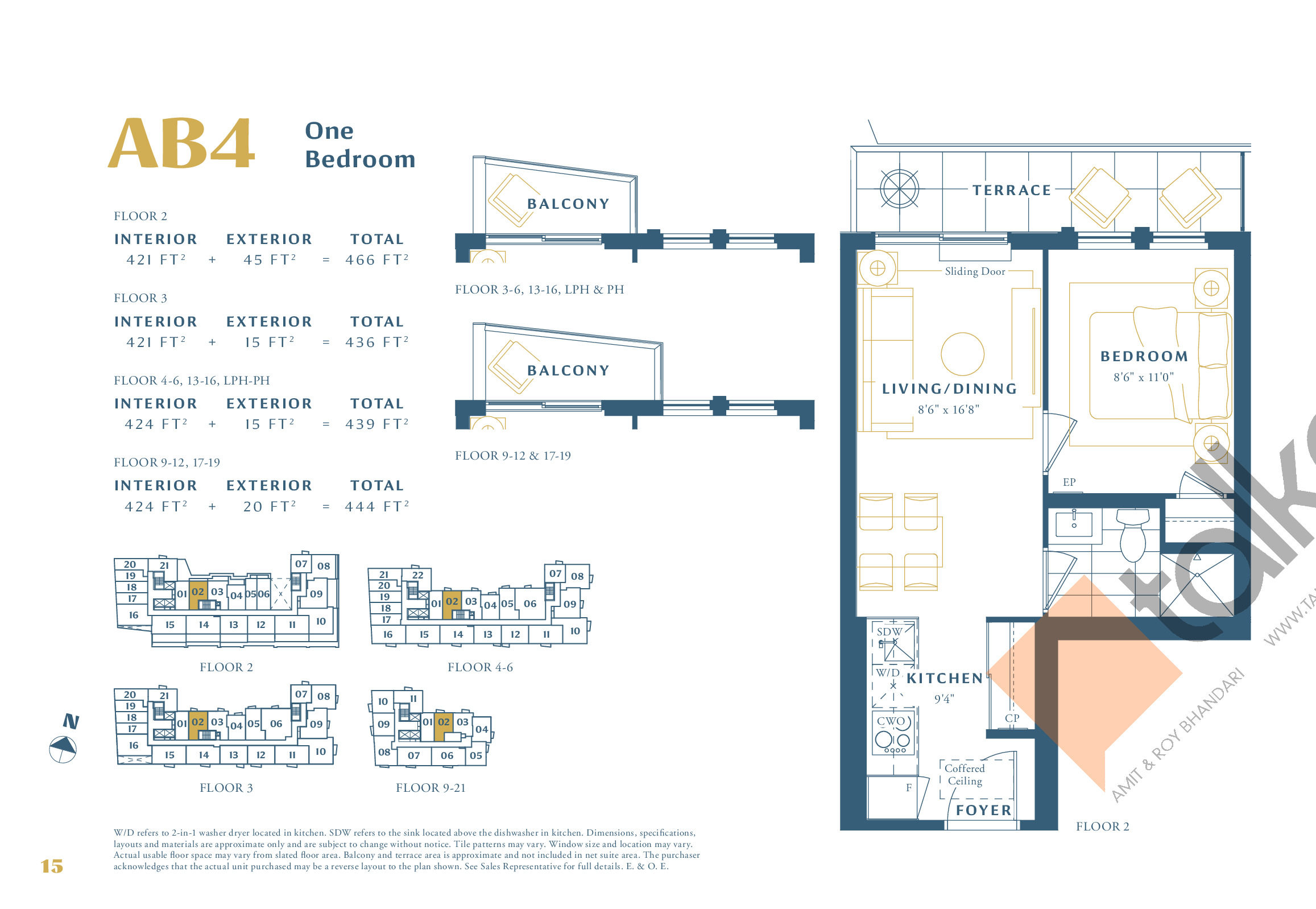 AB4 Floor Plan at The Borough Condos - Tower A - 424 sq.ft