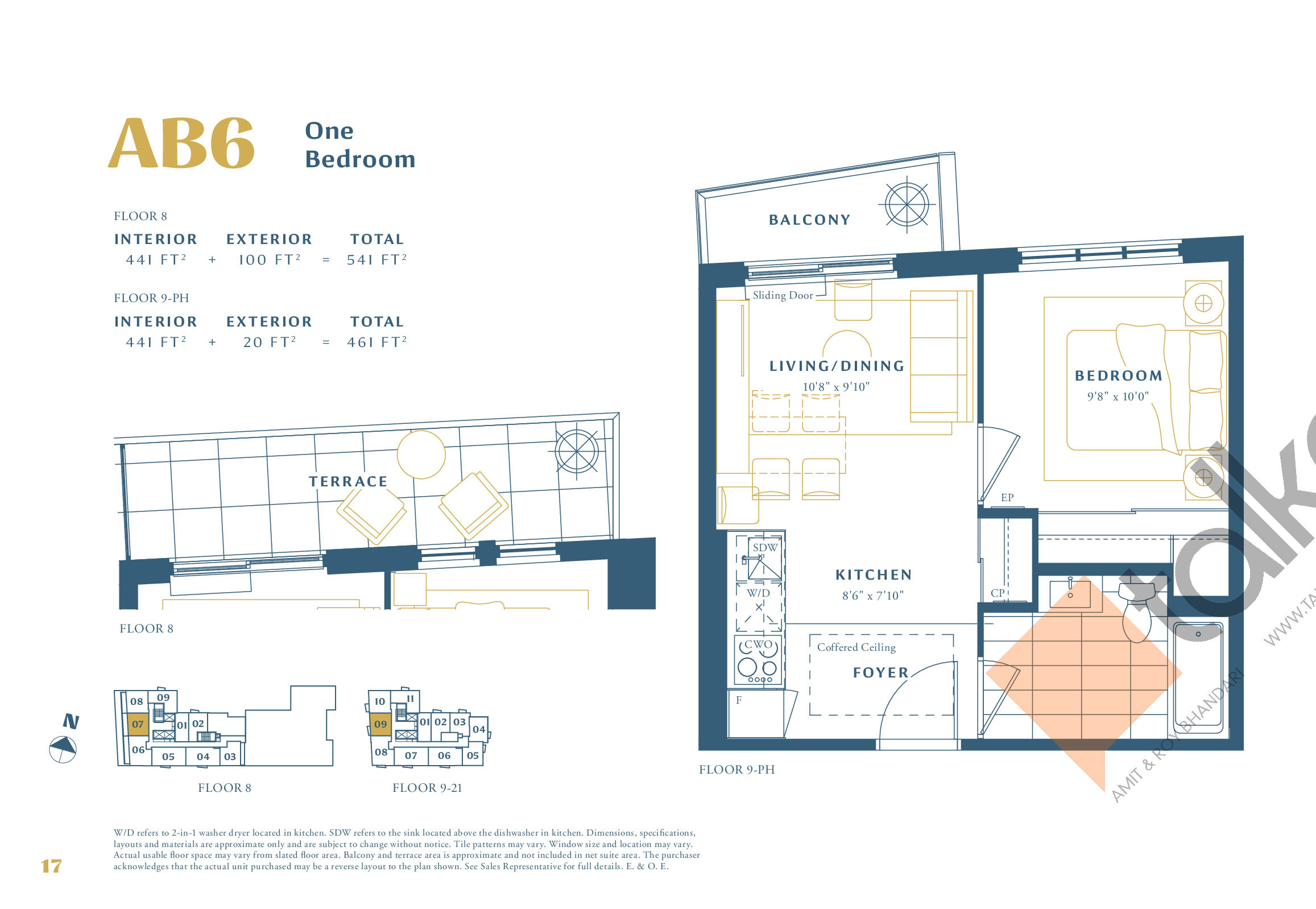 AB6 Floor Plan at The Borough Condos - Tower A - 441 sq.ft