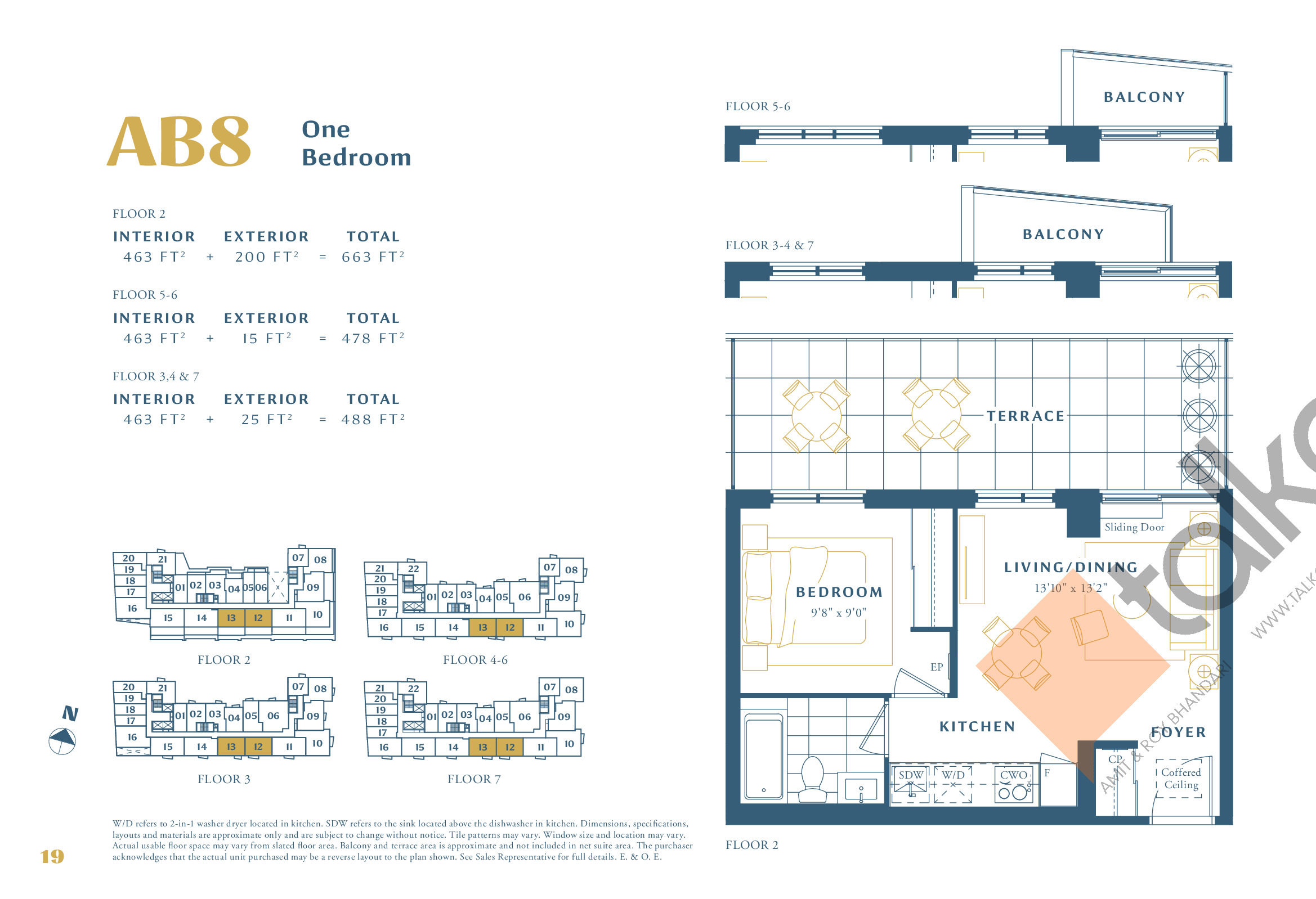 AB8 Floor Plan at The Borough Condos - Tower A - 463 sq.ft