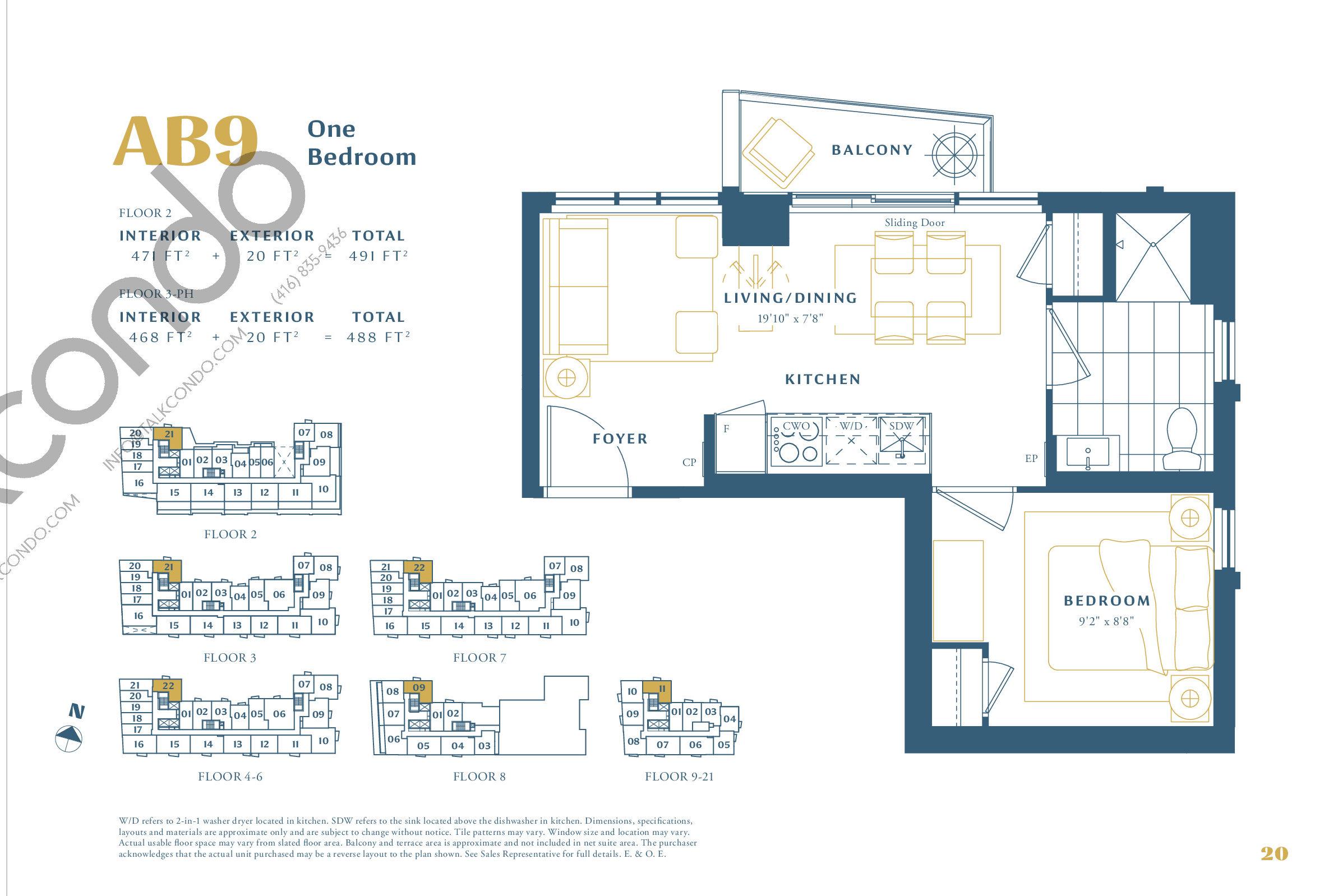 AB9 Floor Plan at The Borough Condos - Tower A - 471 sq.ft