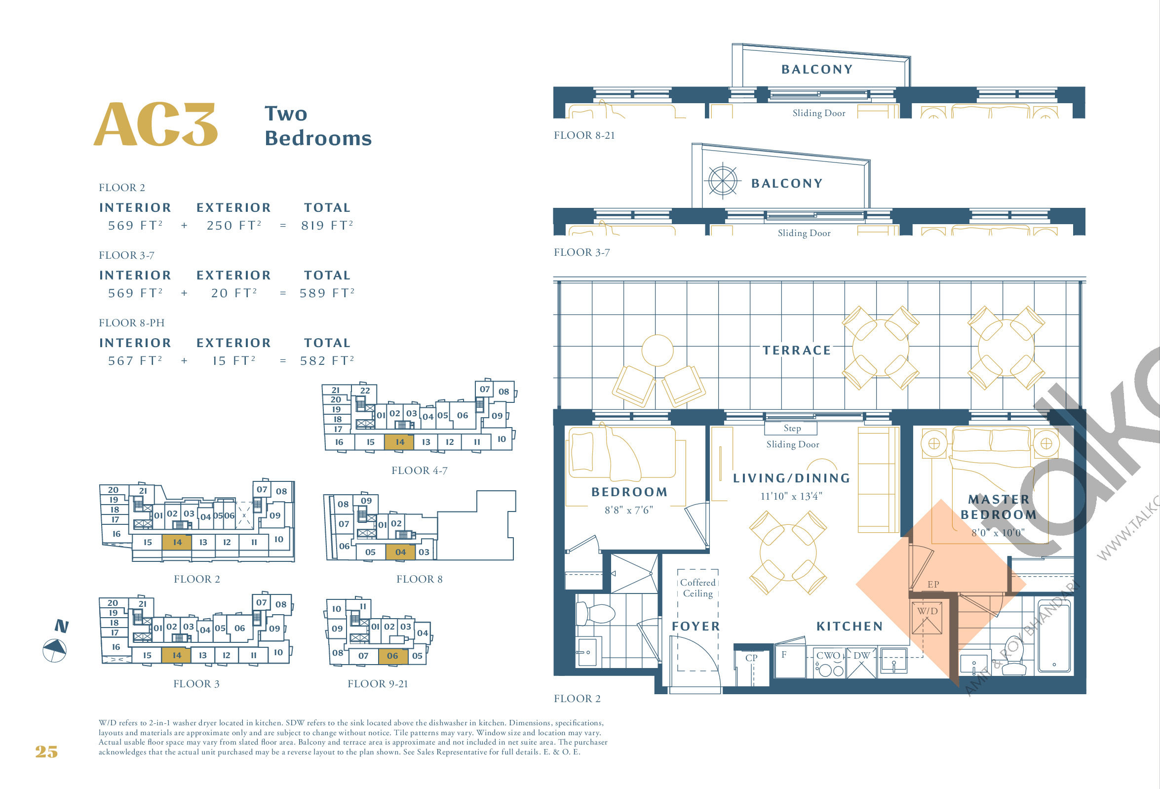 AC3 Floor Plan at The Borough Condos - Tower A - 569 sq.ft