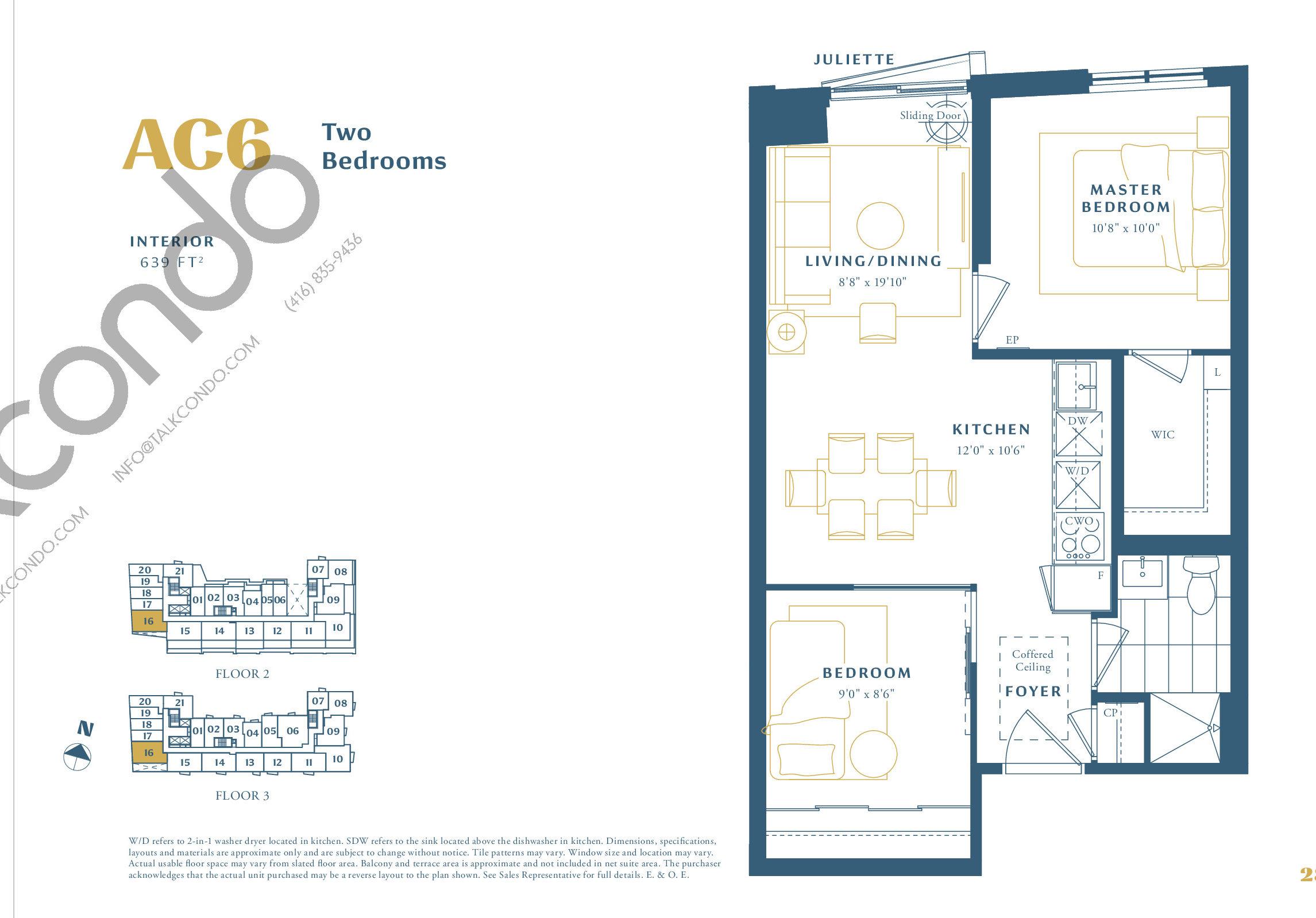 AC6 Floor Plan at The Borough Condos - Tower A - 639 sq.ft