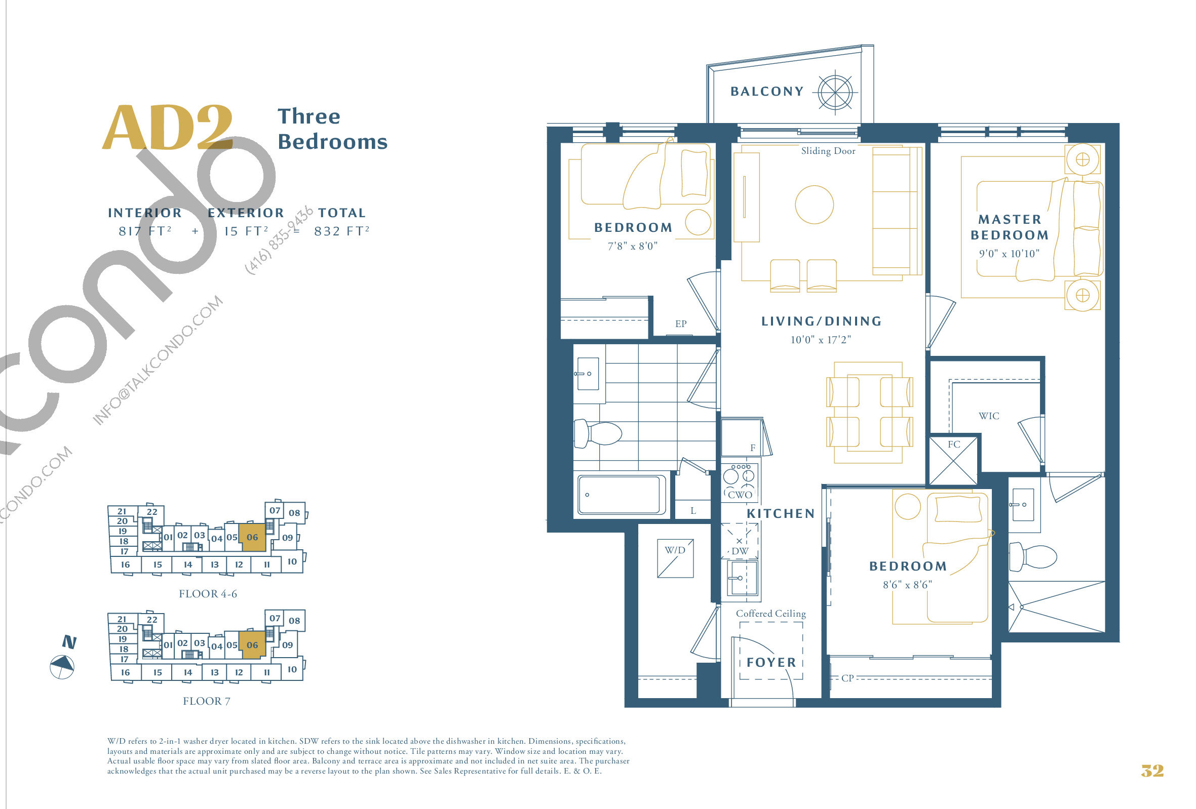 AD2 Floor Plan at The Borough Condos - Tower A - 817 sq.ft