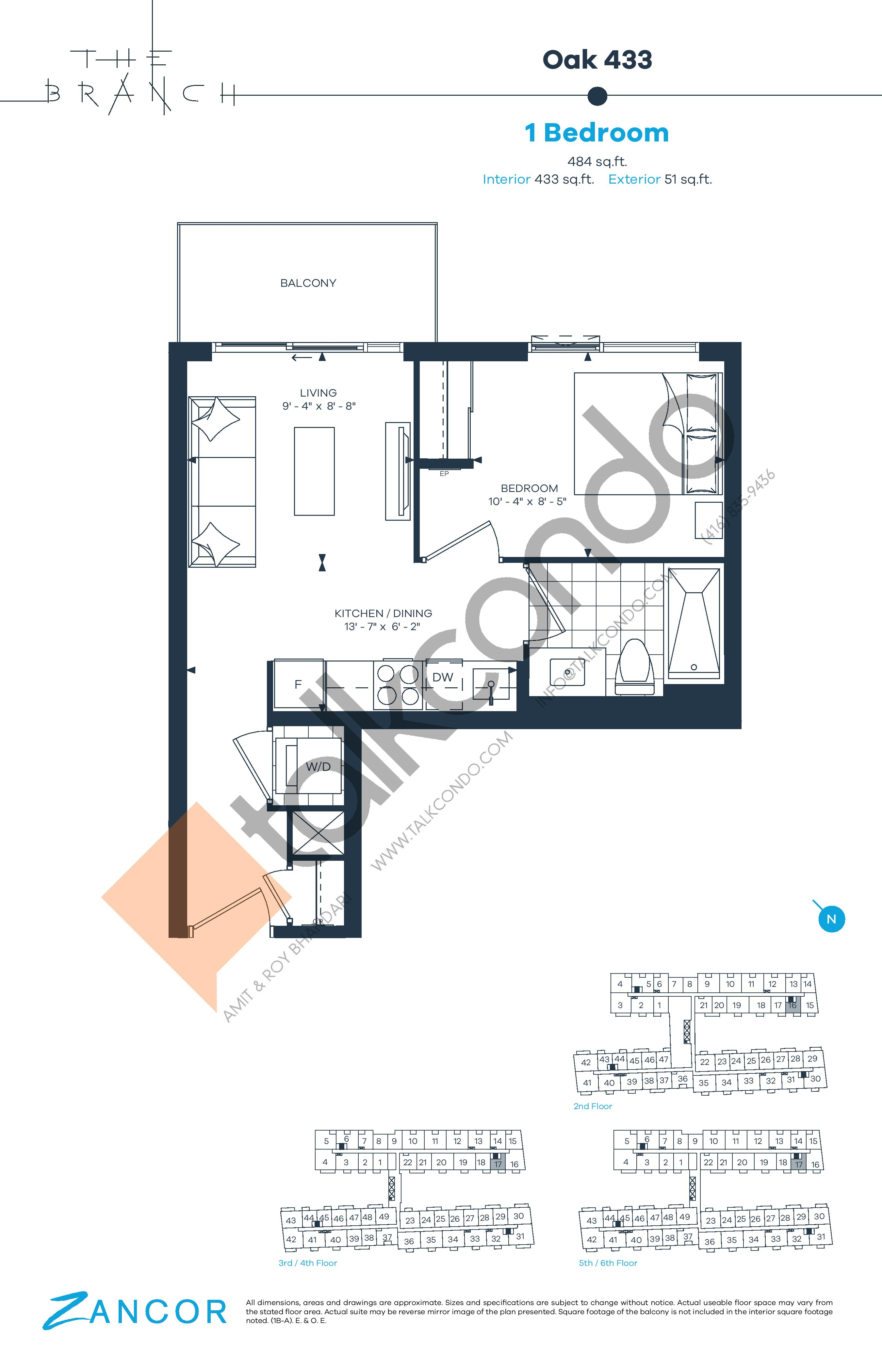 Oak 433 Floor Plan at The Branch Condos - 433 sq.ft