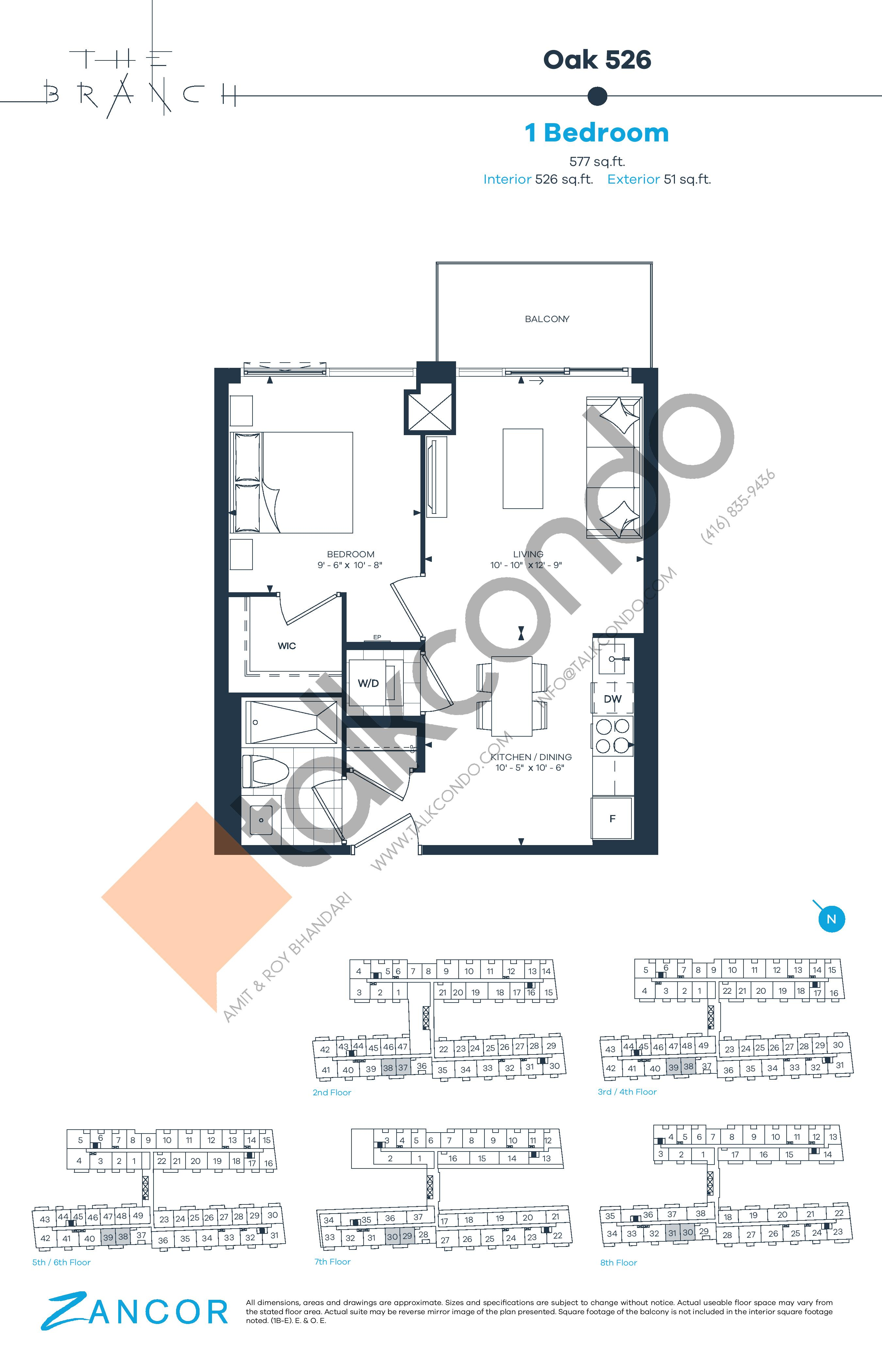 Oak 526 Floor Plan at The Branch Condos - 526 sq.ft