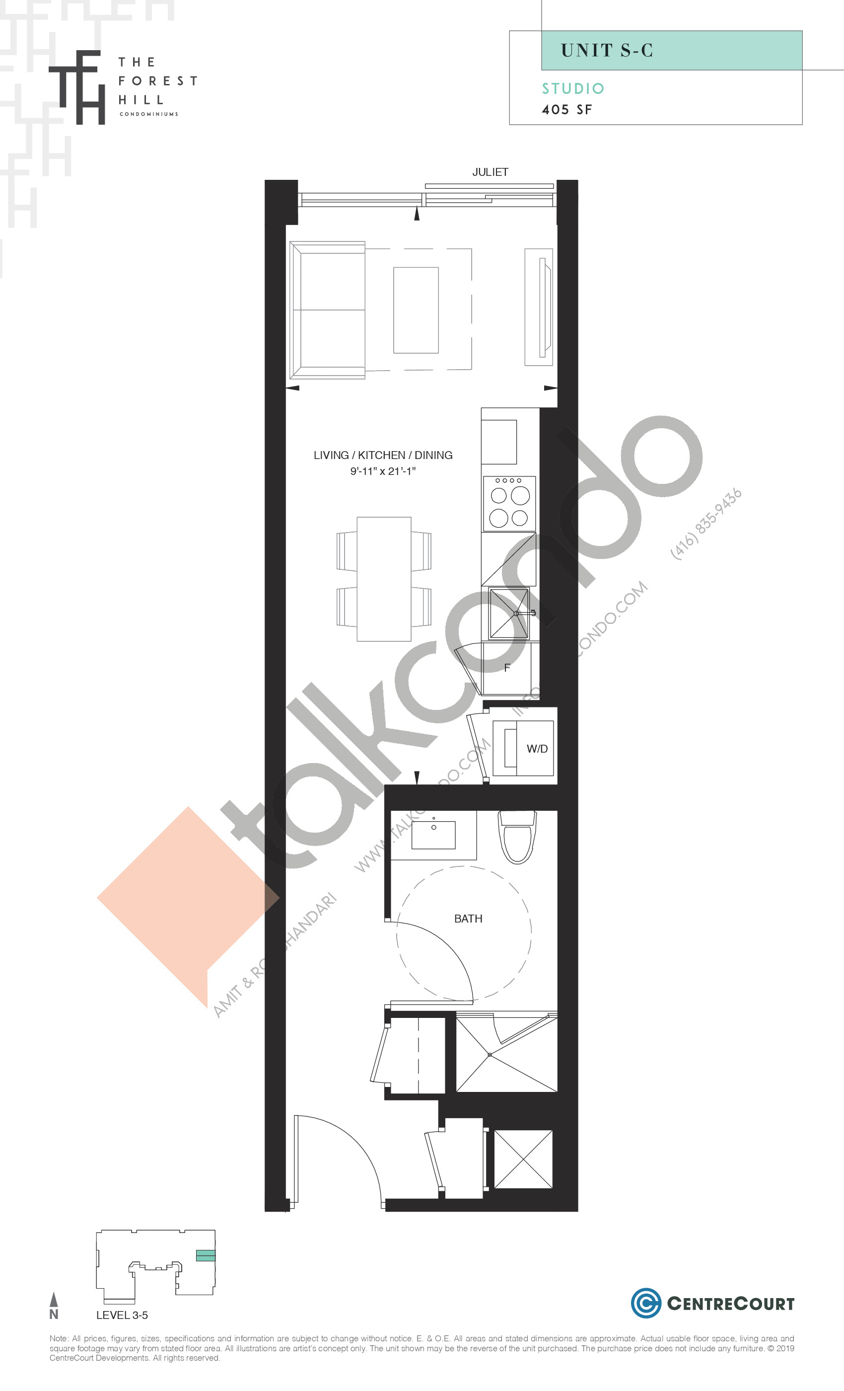 Unit S-C Floor Plan at The Forest Hill Condos - 405 sq.ft