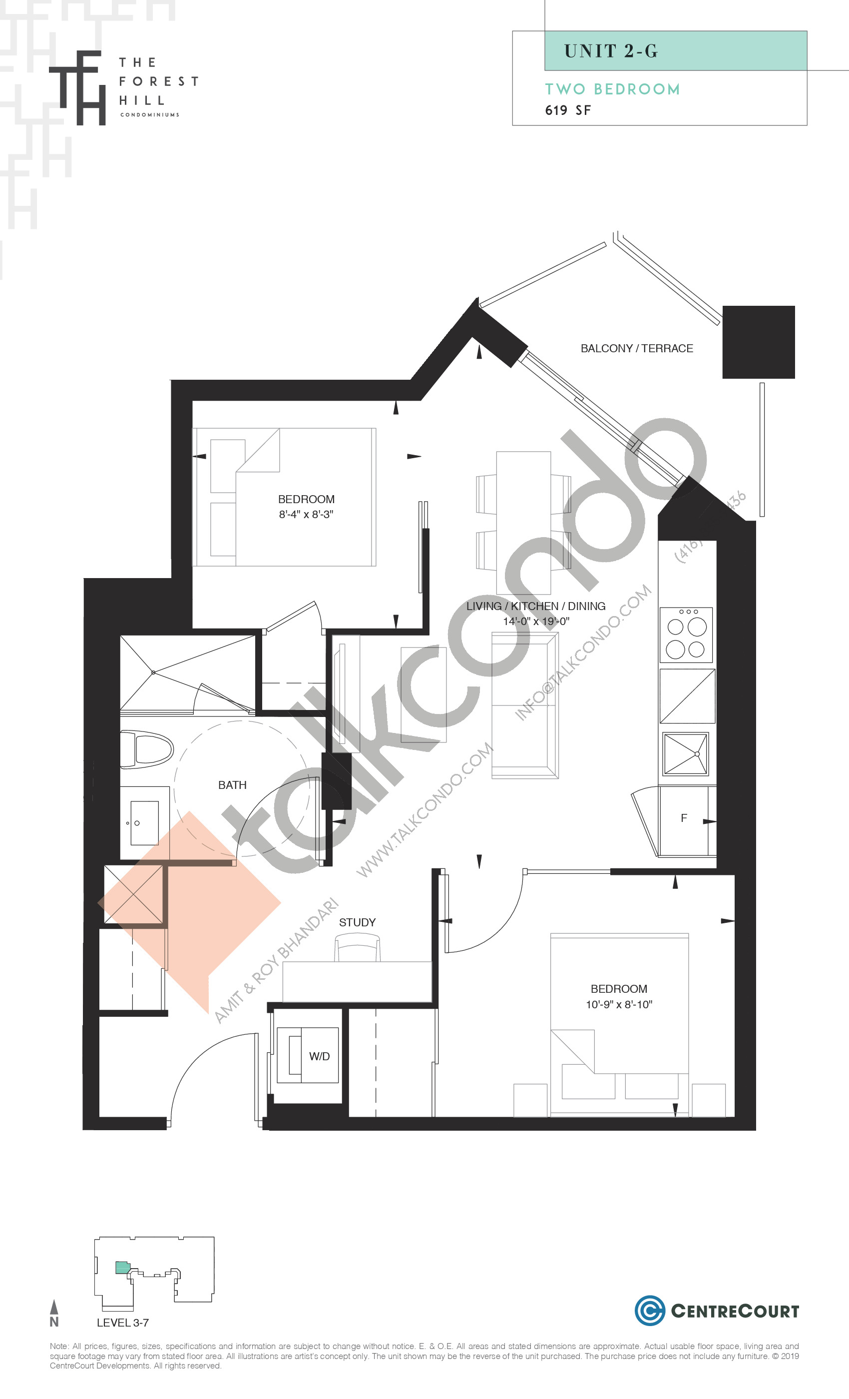Unit 2-G Floor Plan at The Forest Hill Condos - 619 sq.ft