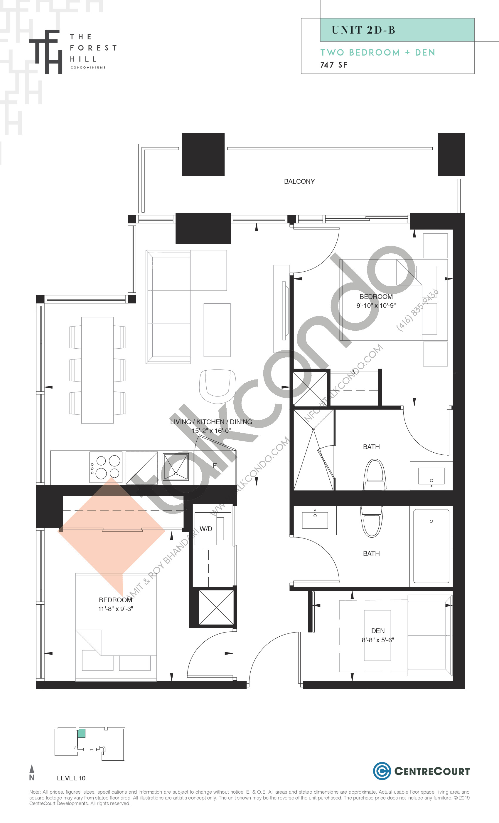Unit 2D-B Floor Plan at The Forest Hill Condos - 747 sq.ft