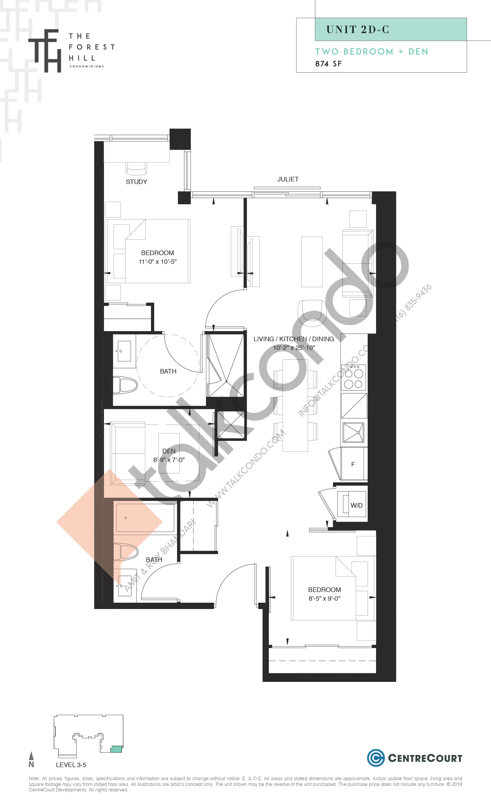 Unit 2D-C Floor Plan at The Forest Hill Condos - 874 sq.ft
