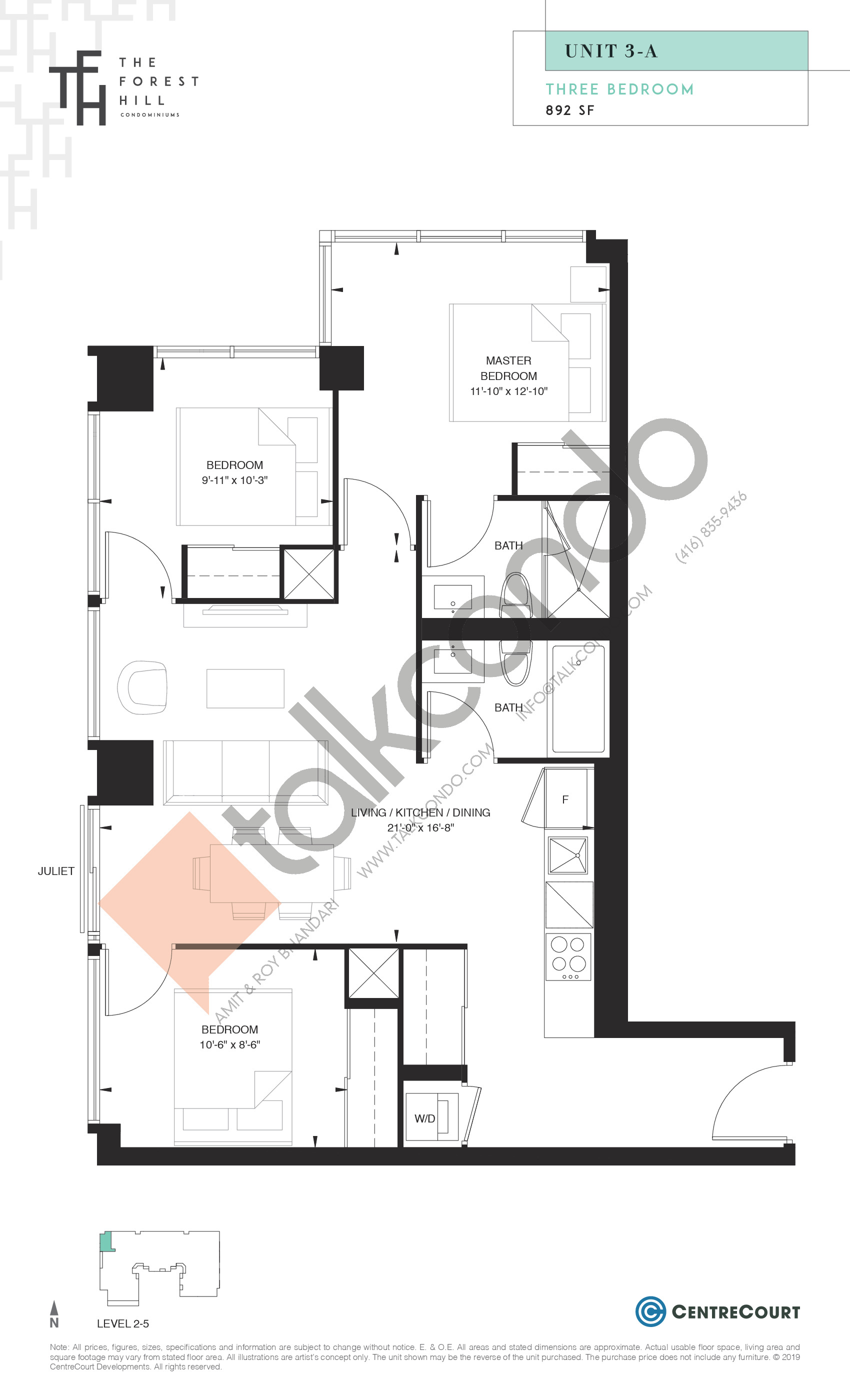Unit 3-A Floor Plan at The Forest Hill Condos - 892 sq.ft