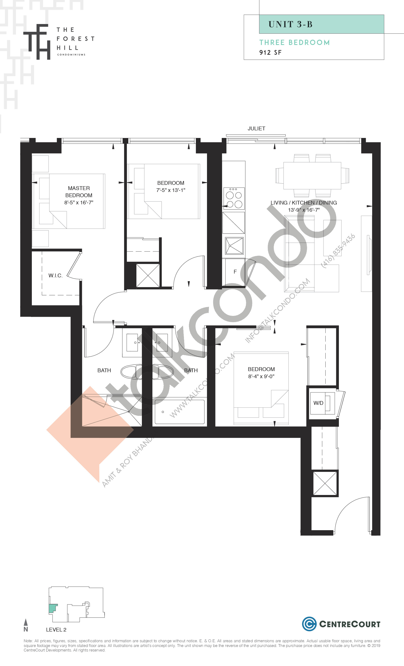 Unit 3-B Floor Plan at The Forest Hill Condos - 912 sq.ft